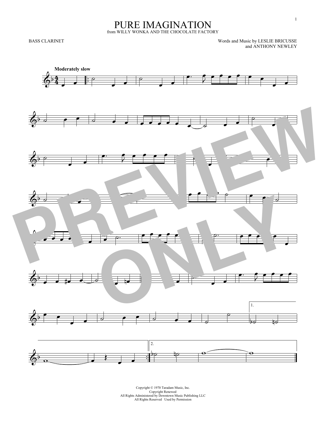 Pure Imagination (from Willy Wonka & The Chocolate Factory) (Bass Clarinet Solo)