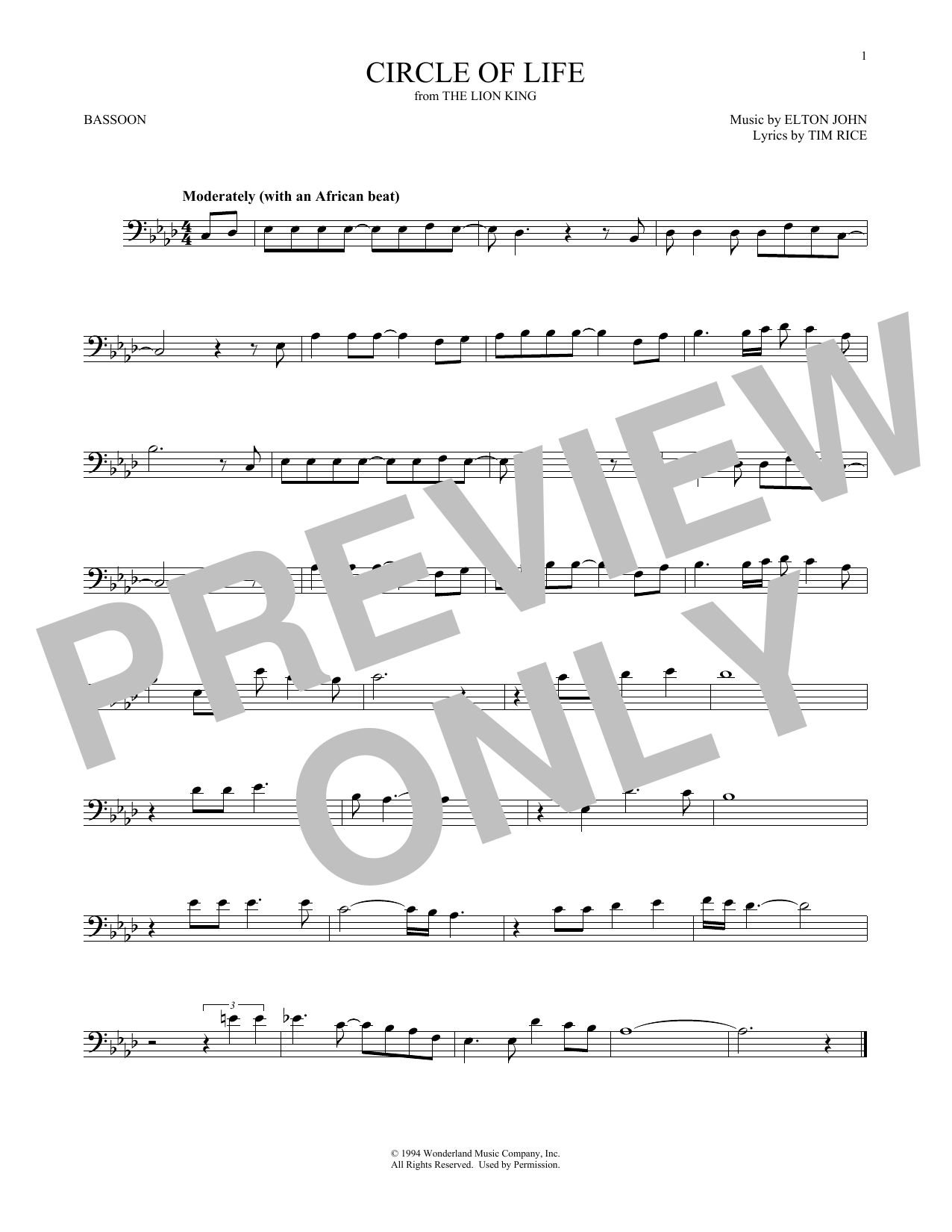 Circle Of Life (from The Lion King) (Bassoon Solo)