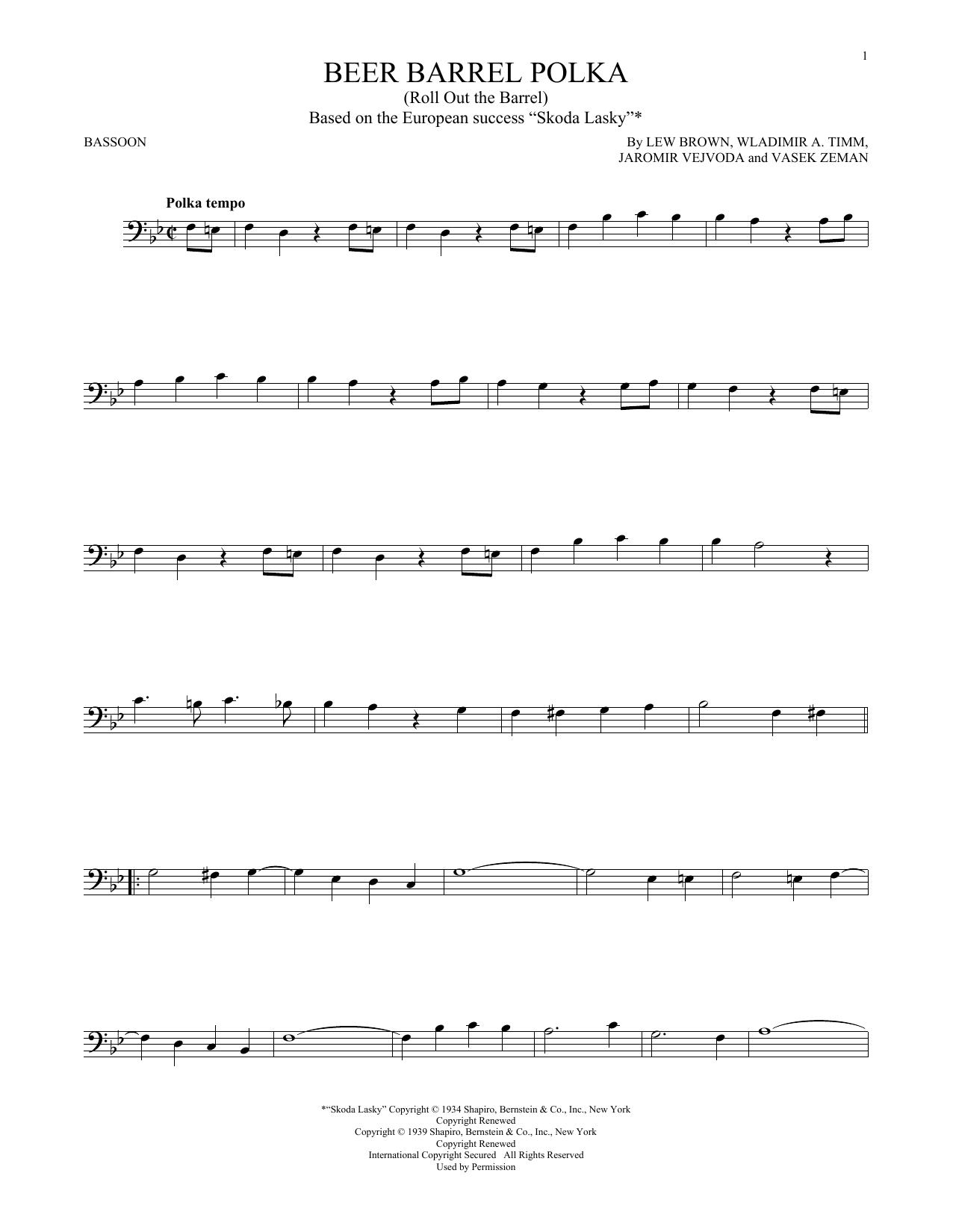 Beer Barrel Polka (Roll Out The Barrel) (Bassoon Solo)