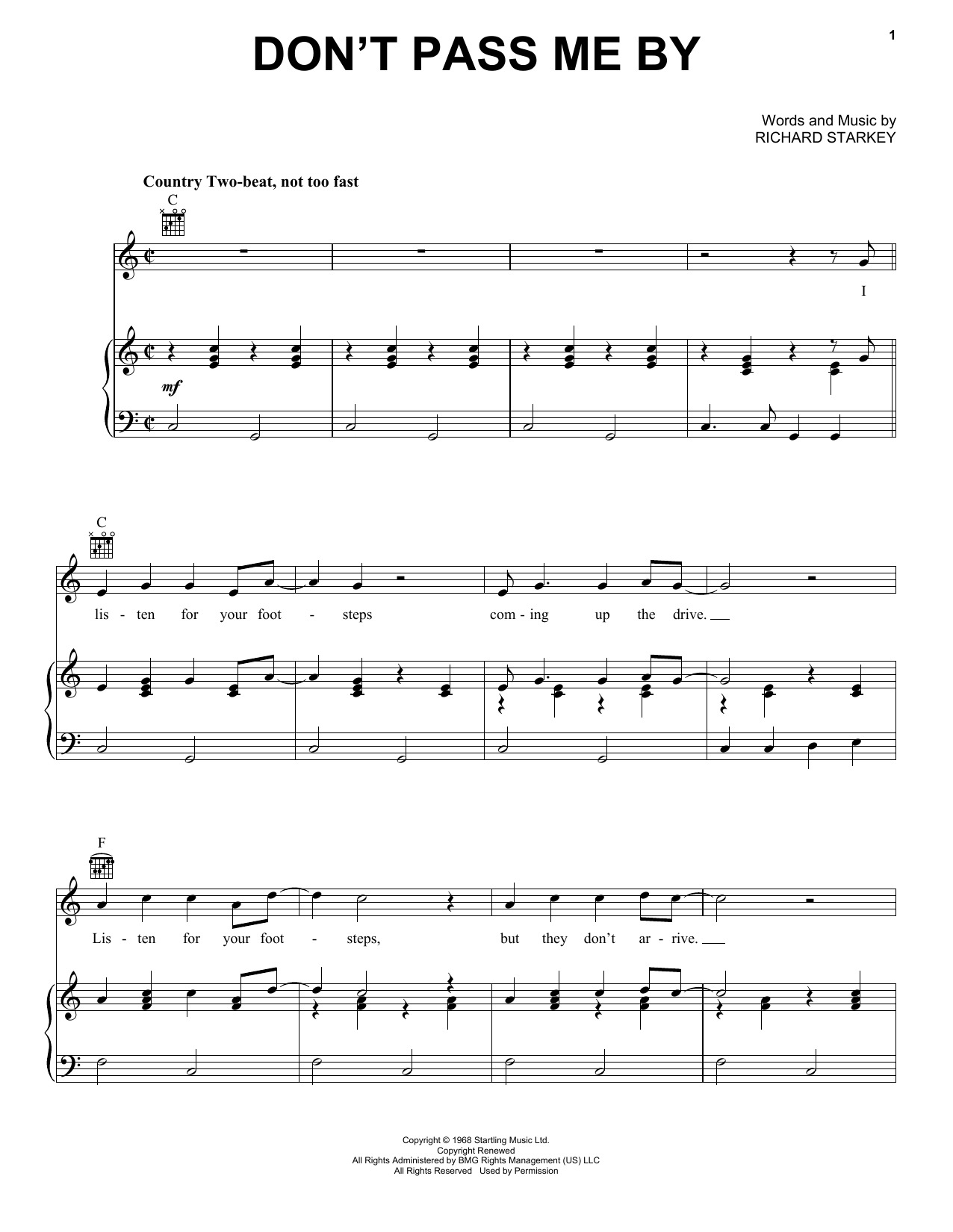 Don't Pass Me By (Piano, Vocal & Guitar (Right-Hand Melody))