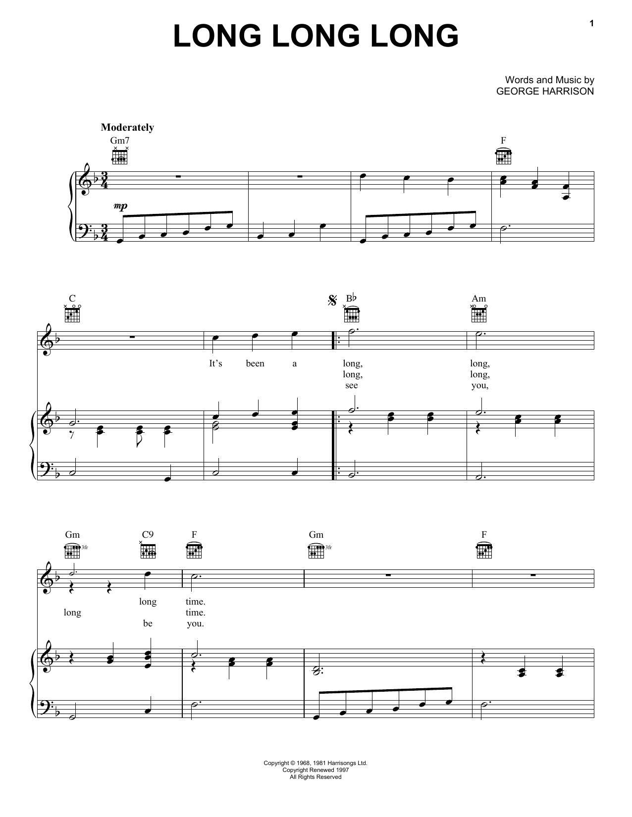 Long Long Long (Piano, Vocal & Guitar (Right-Hand Melody))
