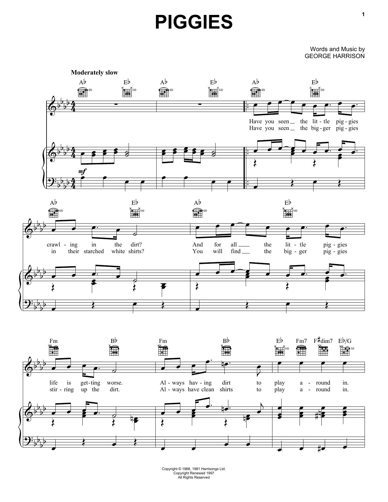 Piggies (Piano, Vocal & Guitar (Right-Hand Melody))