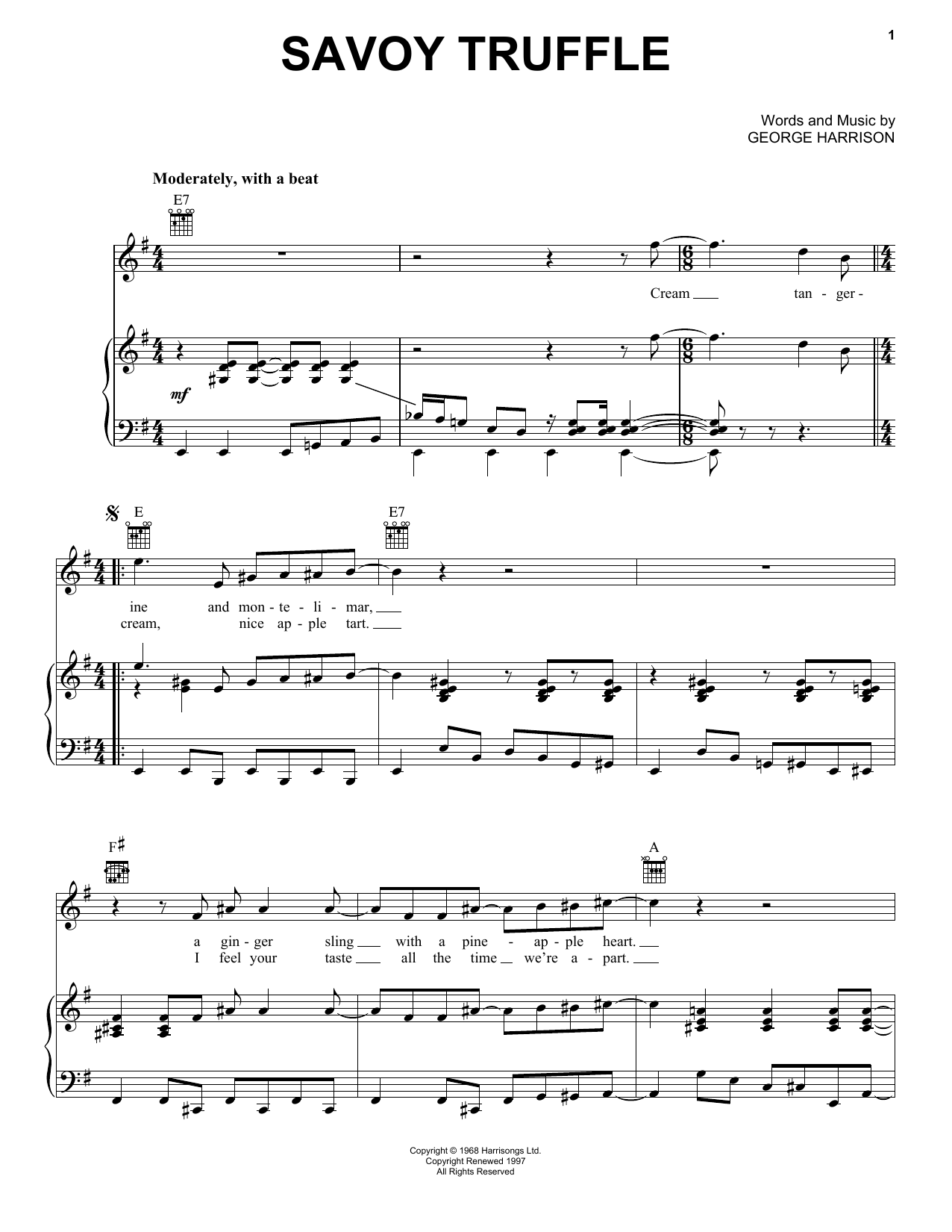 Savoy Truffle (Piano, Vocal & Guitar (Right-Hand Melody))