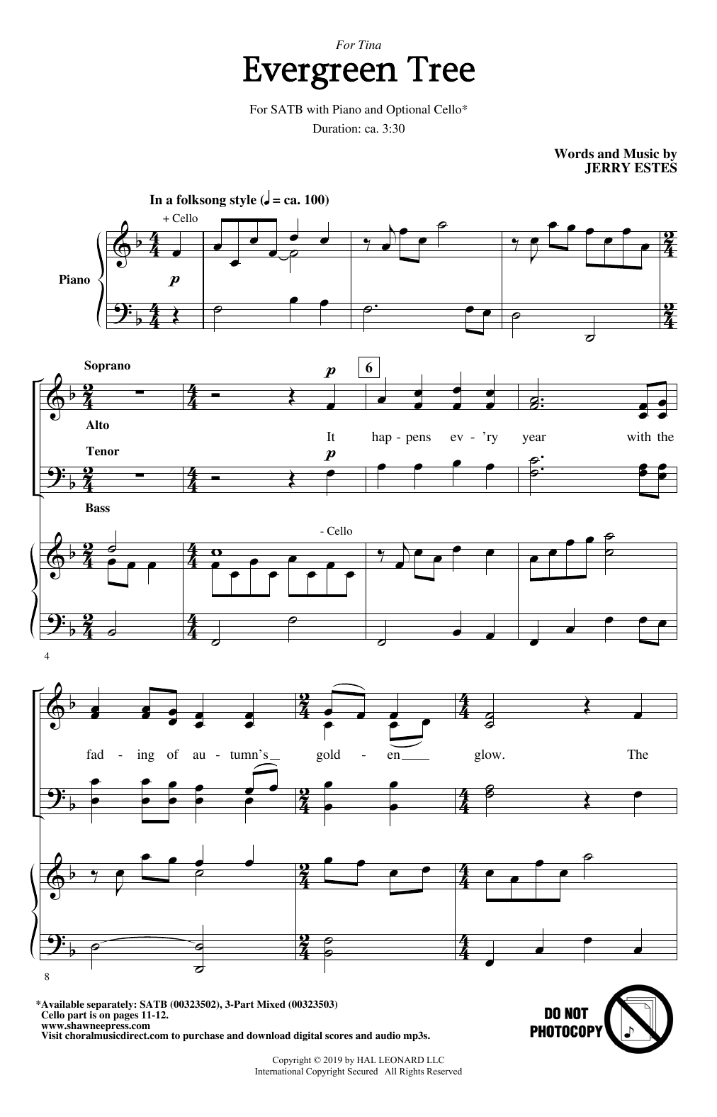 Evergreen Tree (SATB Choir)
