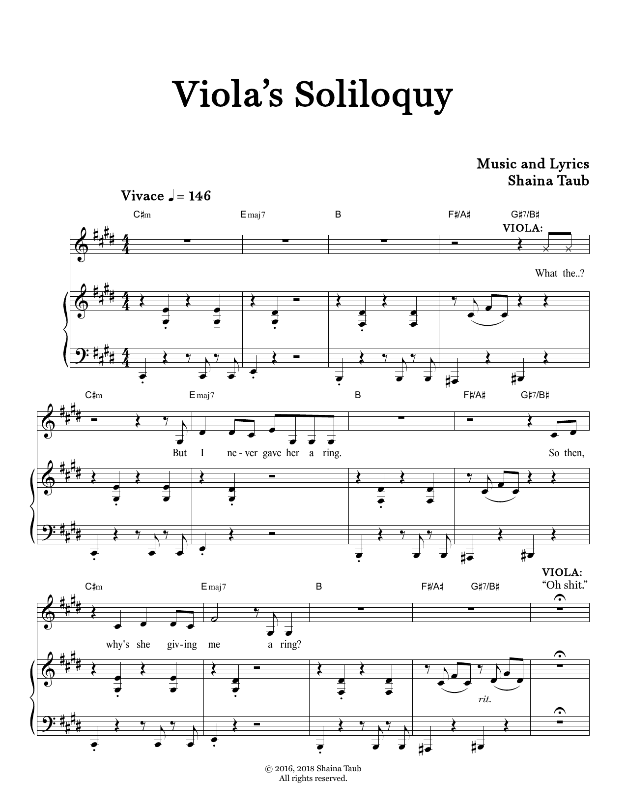 Viola's Soliloquy (from Twelfth Night) Sheet Music