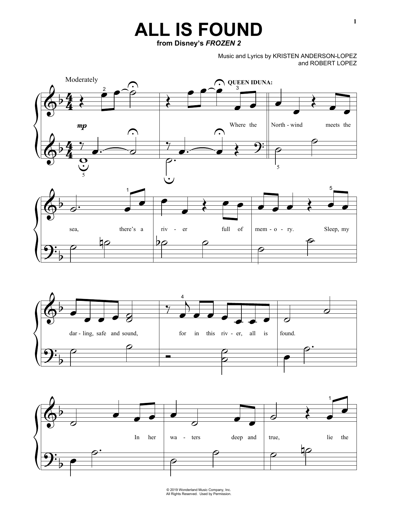 All Is Found (from Disney's Frozen 2) (Big Note Piano)