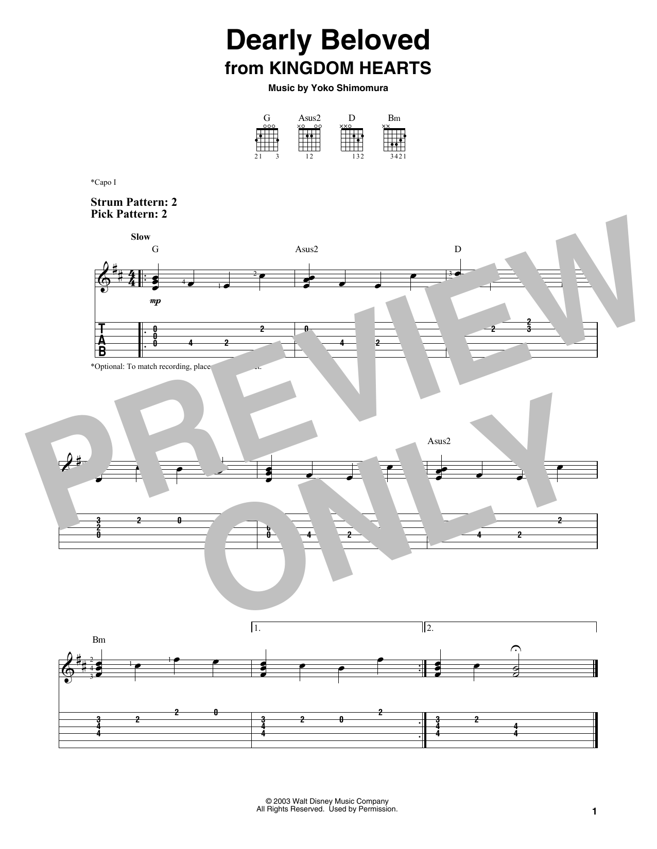 Dearly Beloved (from Kingdom Hearts) (Easy Guitar Tab)