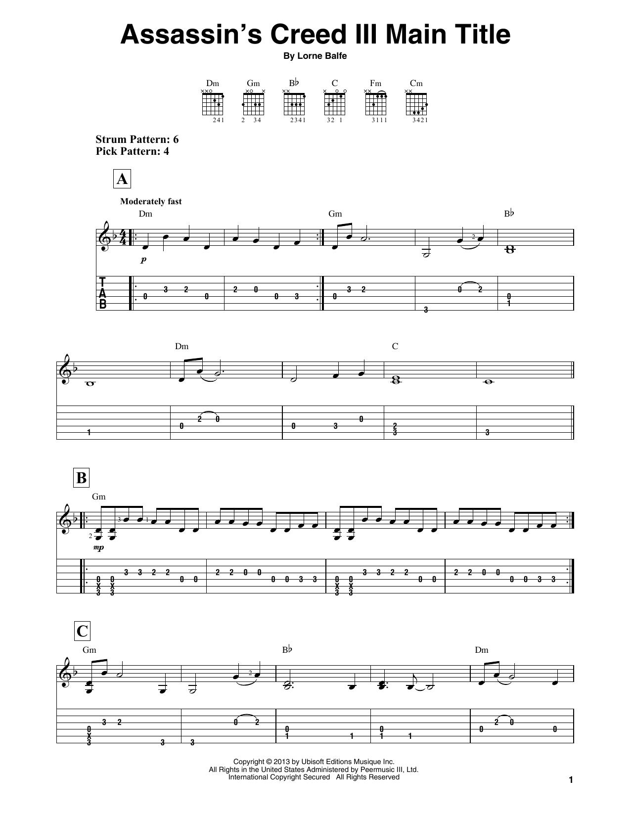 Assassin's Creed III Main Title (Easy Guitar Tab)