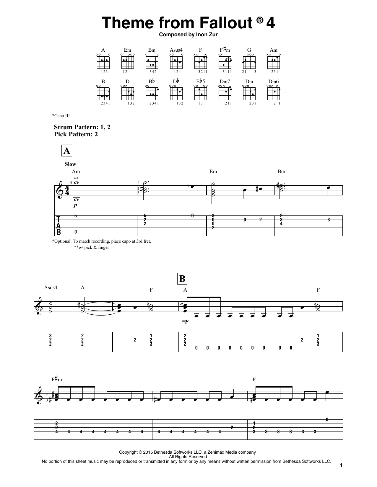 Theme From Fallout 4 (Easy Guitar Tab)