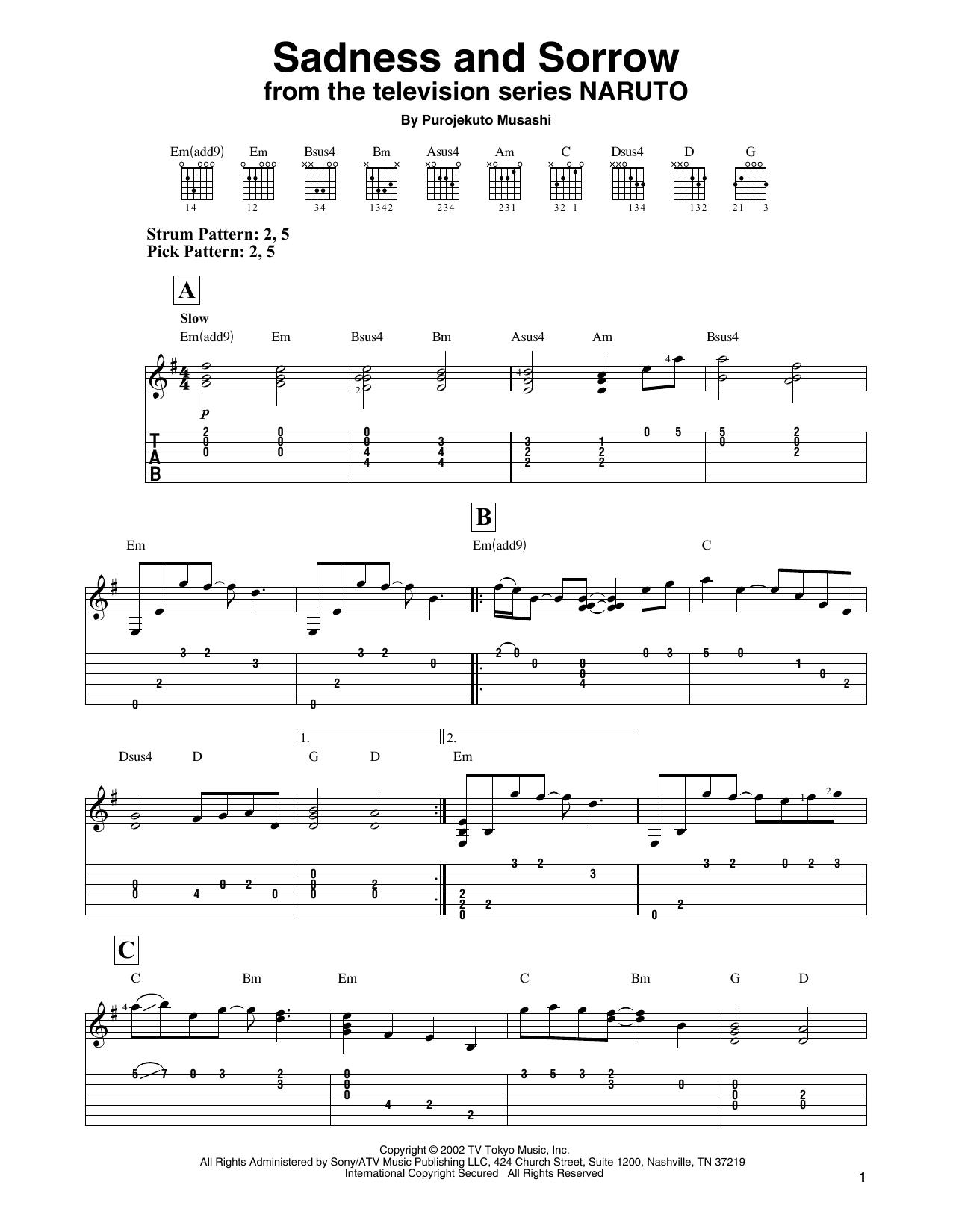 Sadness And Sorrow (from Naruto) (Easy Guitar Tab)