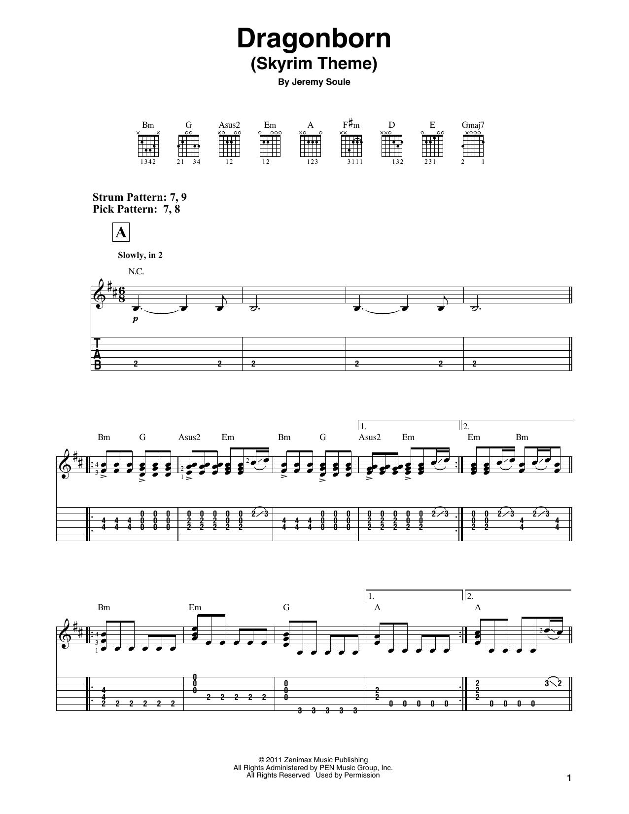Dragonborn (Skyrim Theme) (Easy Guitar Tab)