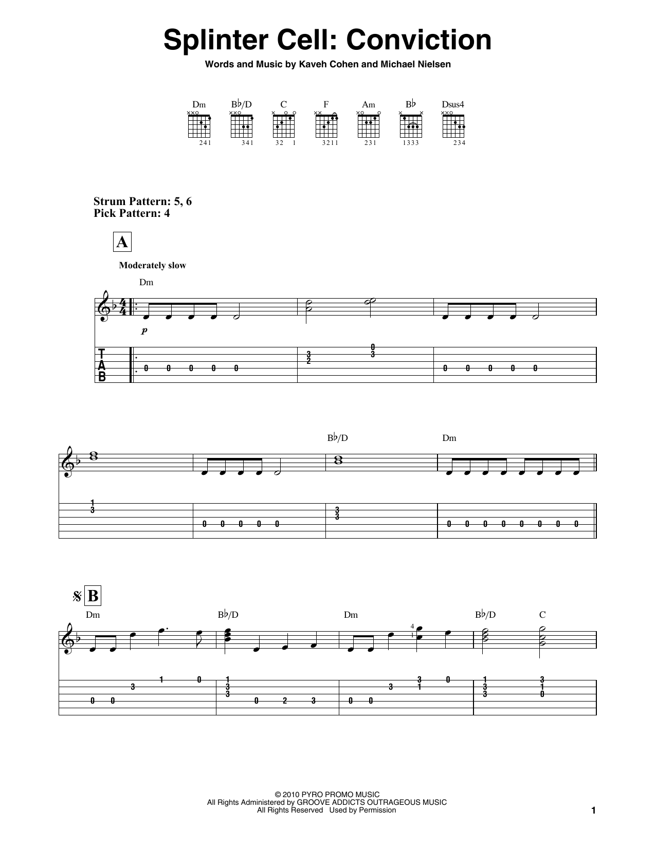 Splinter Cell: Conviction (Easy Guitar Tab)