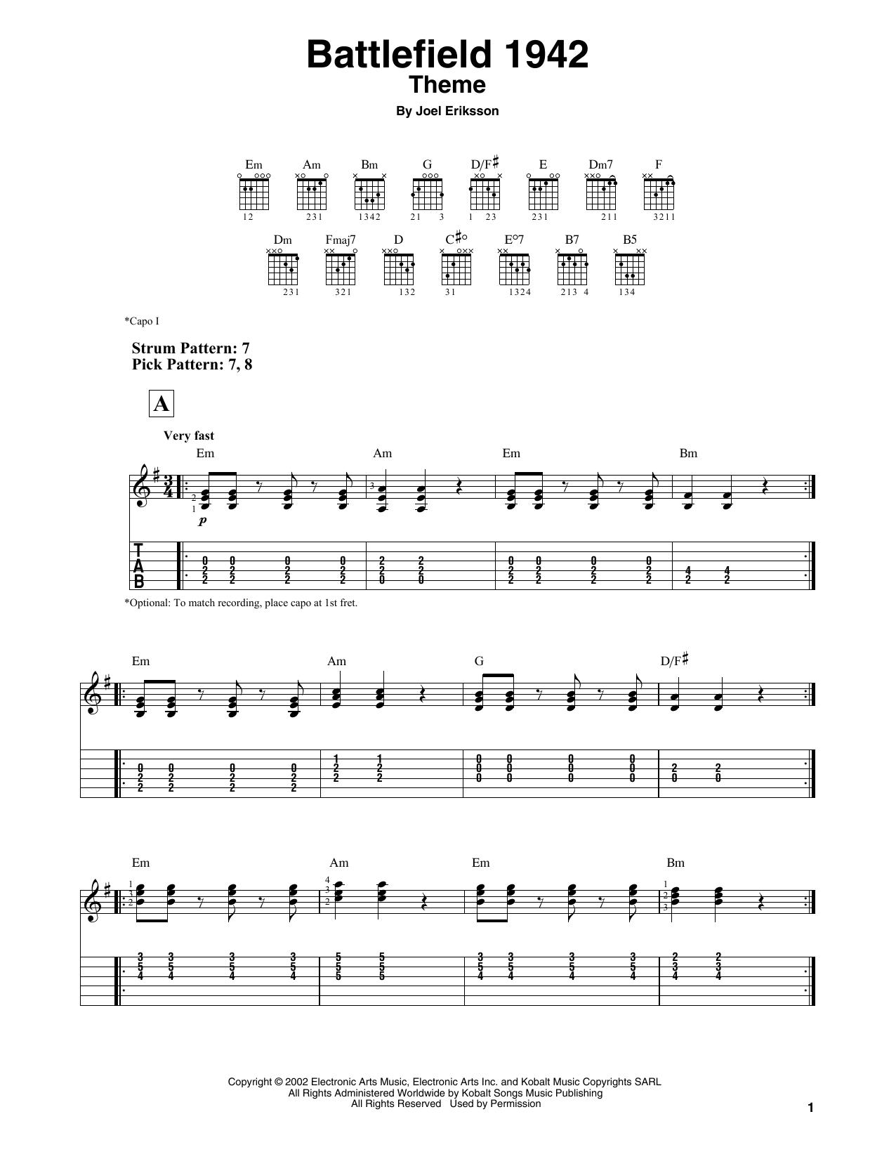 Battlefield 1942 Theme (Easy Guitar Tab)