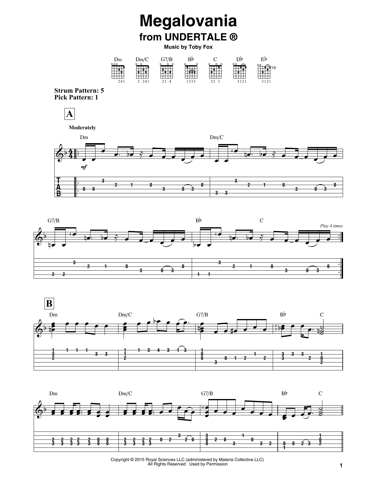 Megalovania (from Undertale) (Easy Guitar Tab)