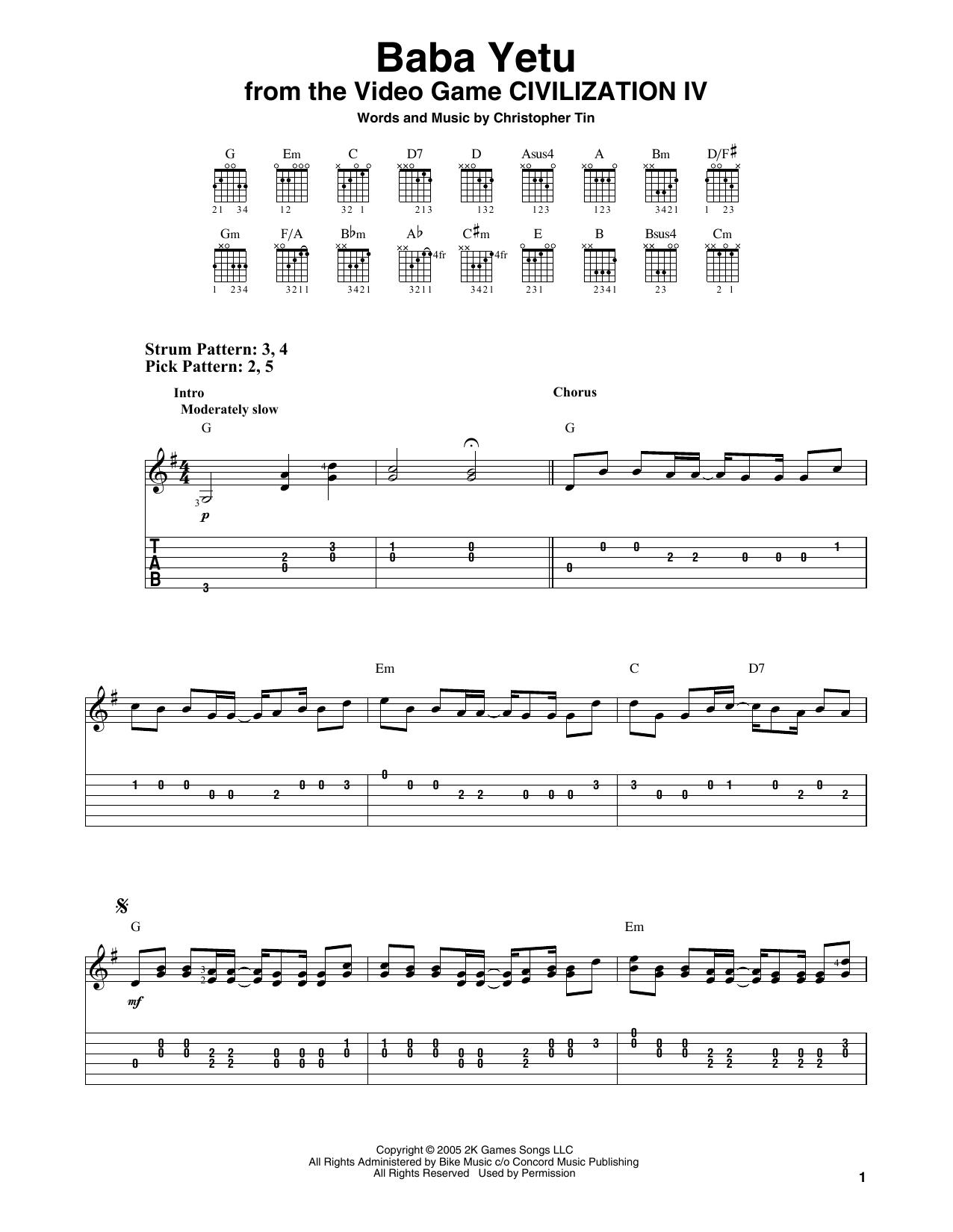 Baba Yetu (from Civilization IV) (Easy Guitar Tab)