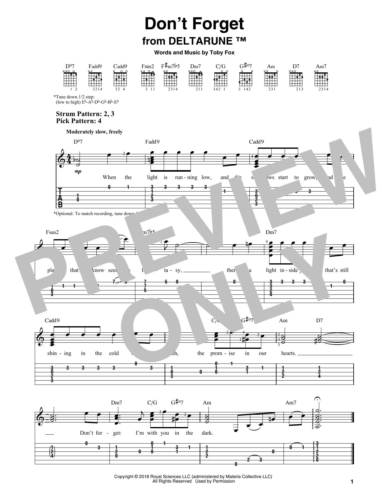 Don't Forget (from Deltarune) (Easy Guitar Tab)