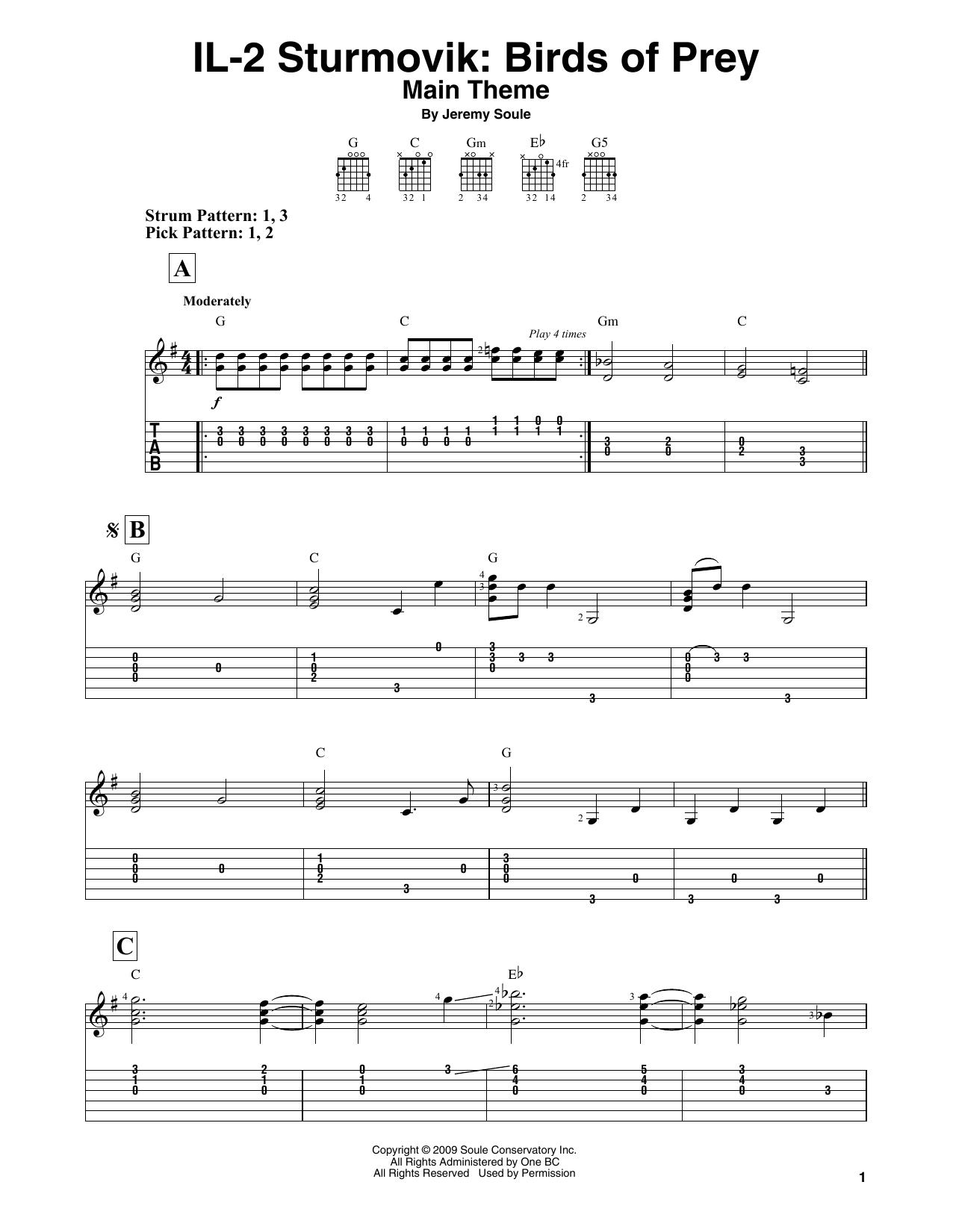 IL-2 Sturmovik: Birds of Prey - Main Theme (Easy Guitar Tab)