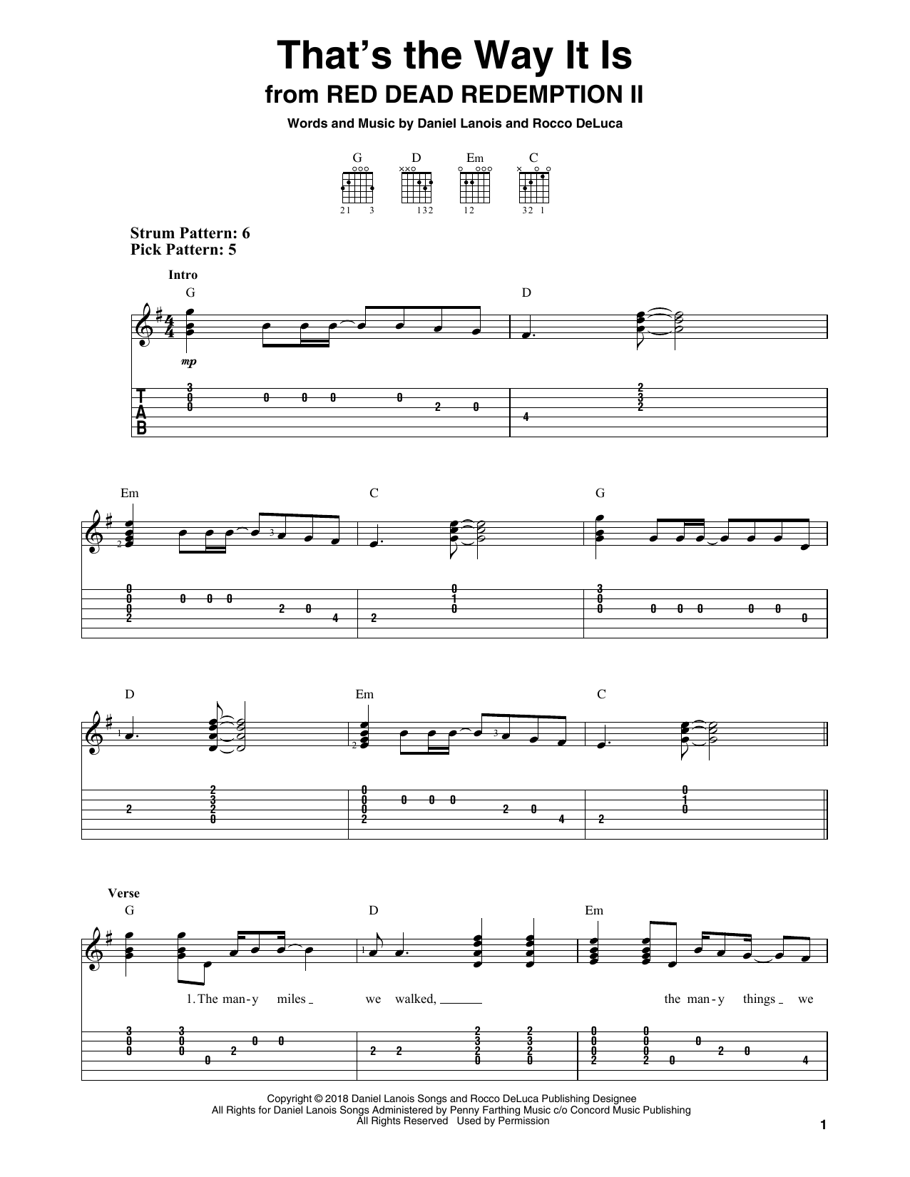 That's The Way It Is (from Red Dead Redemption II) (Easy Guitar Tab)