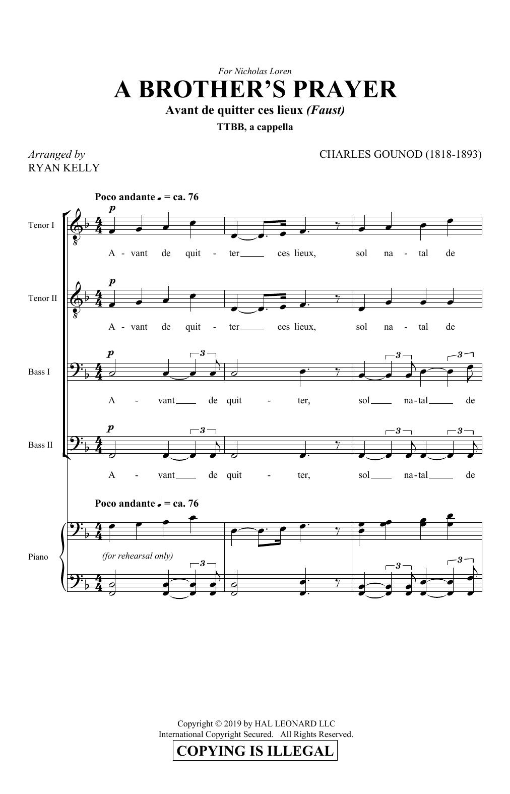 A Brother's Prayer (Avant de quitter ces lieux) (arr. Ryan Kelly) (TTBB Choir)