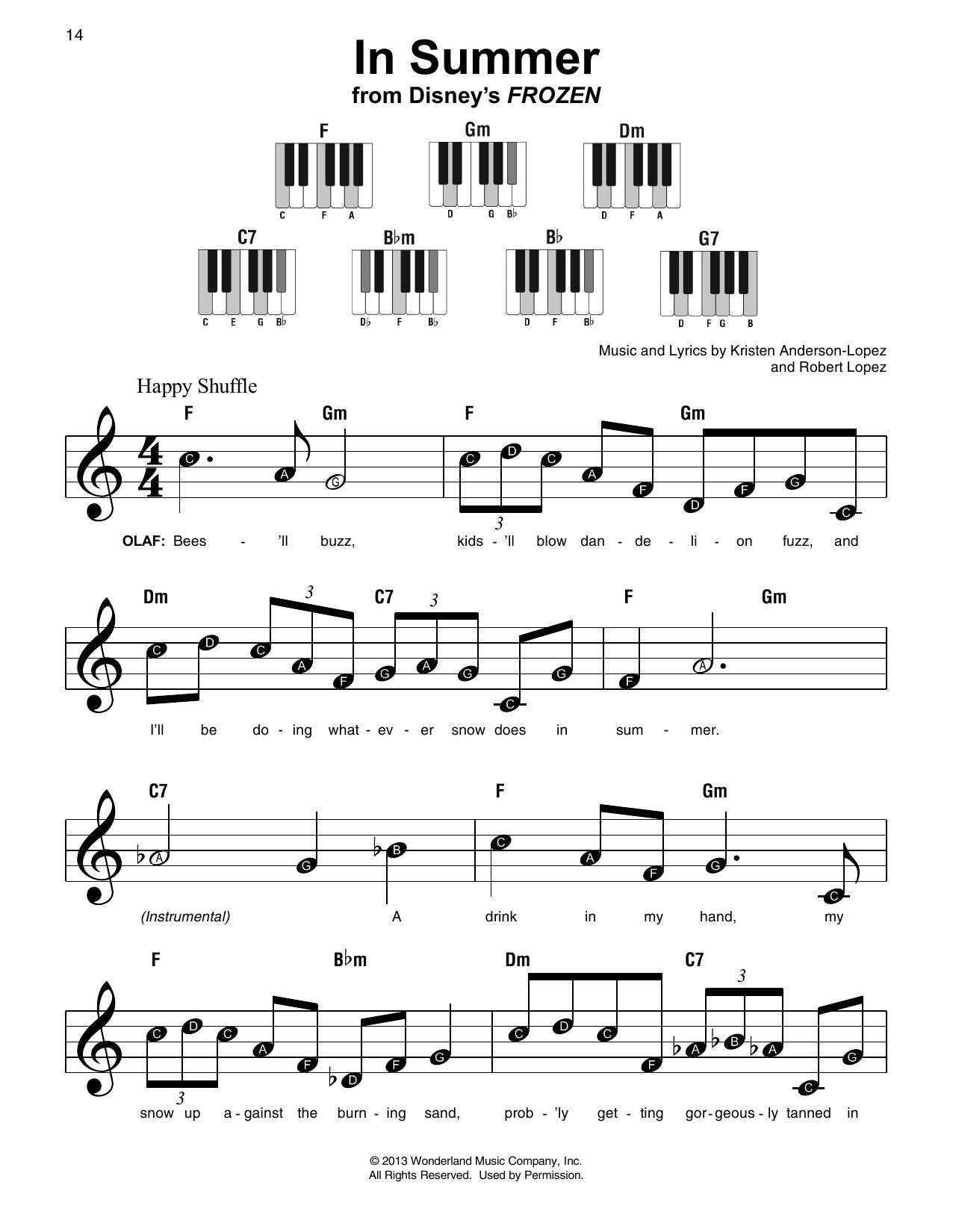 In Summer (from Disney's Frozen) (Super Easy Piano)