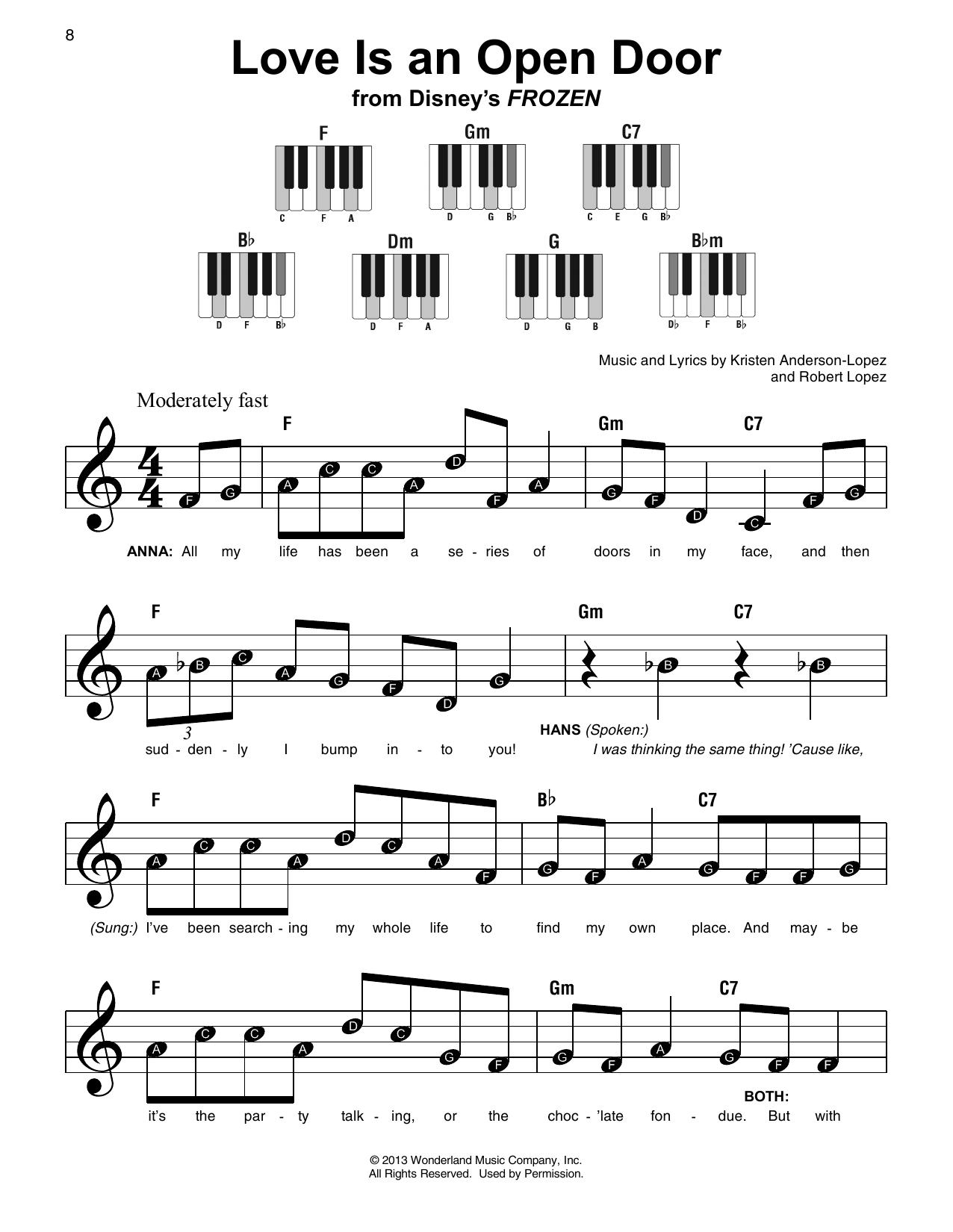 Love Is An Open Door (from Disney's Frozen) (Super Easy Piano)