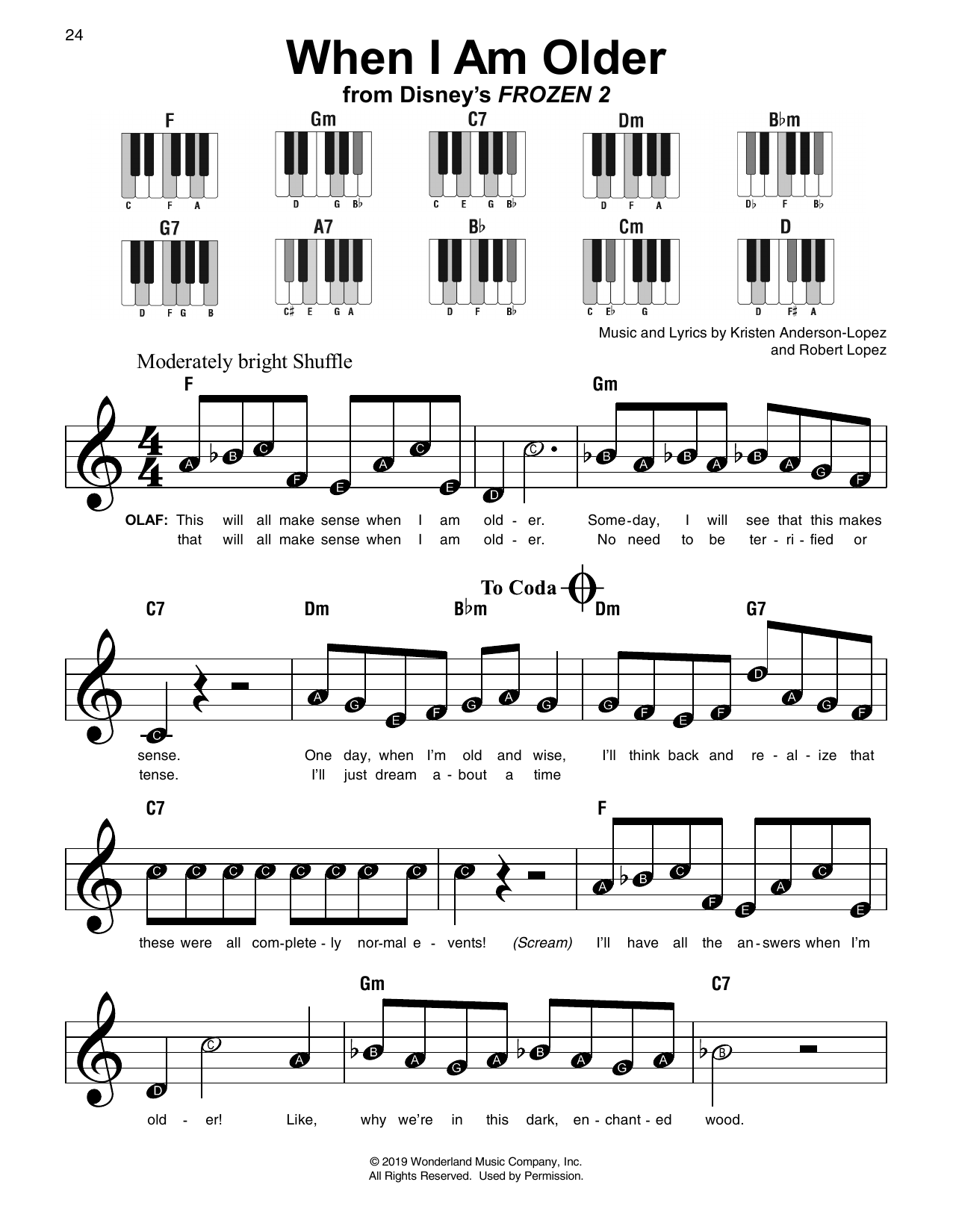 When I Am Older (from Disney's Frozen 2) (Super Easy Piano)