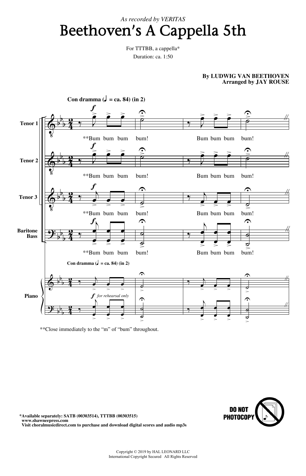 Beethoven's A Cappella 5th (arr. Jay Rouse) (Choir)