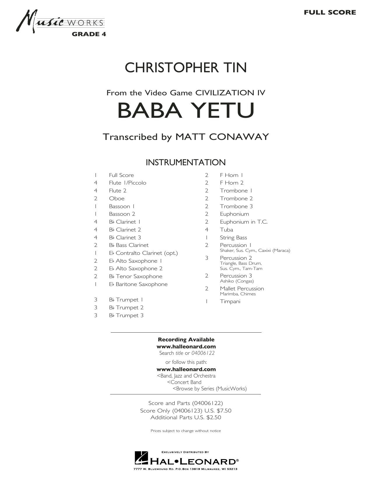 Baba Yetu (from Civilization IV) (trans. Matt Conaway) - Conductor Score (Full Score) (Concert Band)
