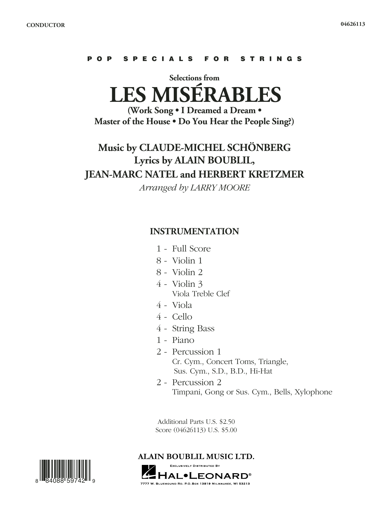 Selections from Les Misérables (arr. Larry Moore) - Full Score (Orchestra)
