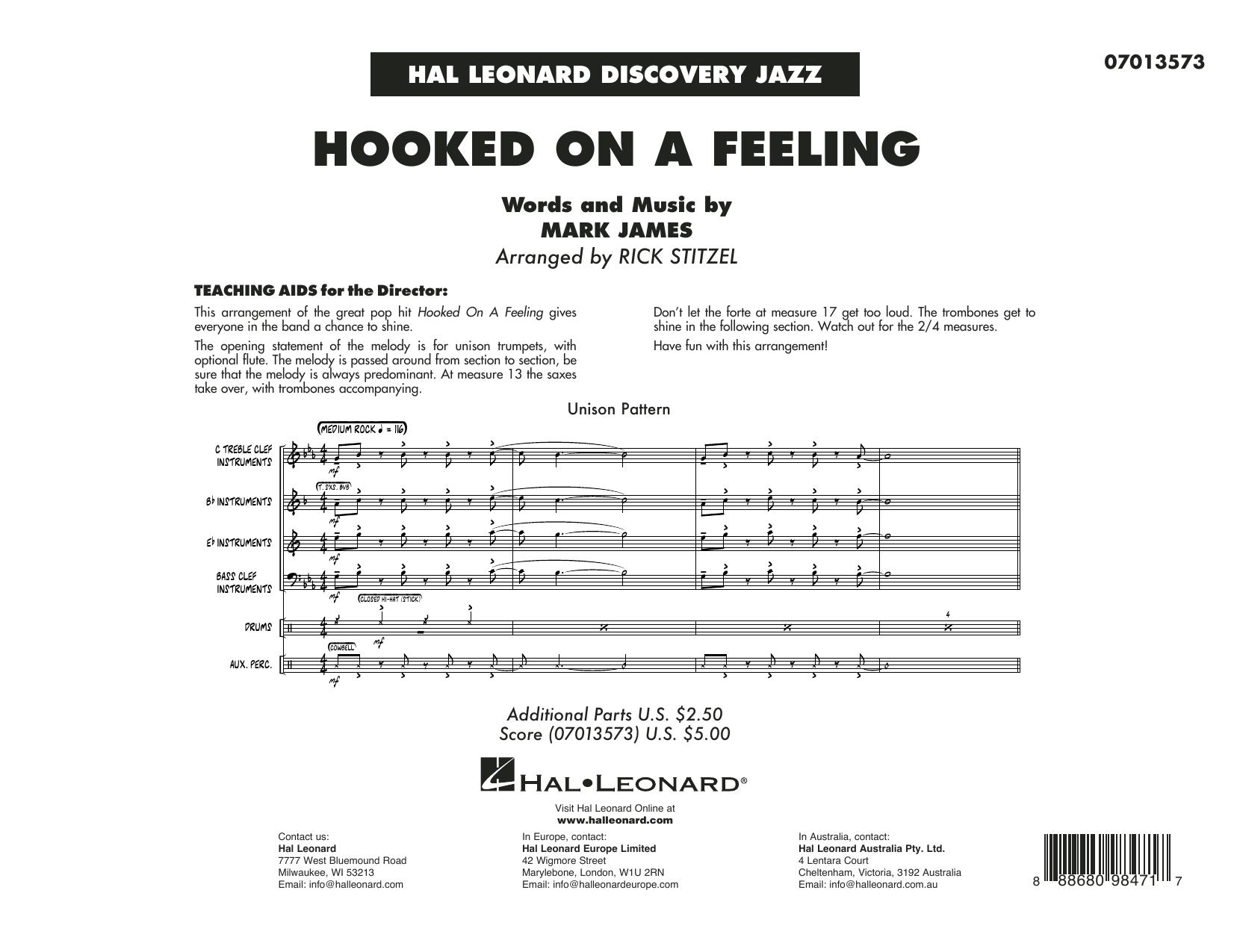 Hooked On A Feeling (arr. Rick Stitzel) - Conductor Score (Full Score) (Jazz Ensemble)