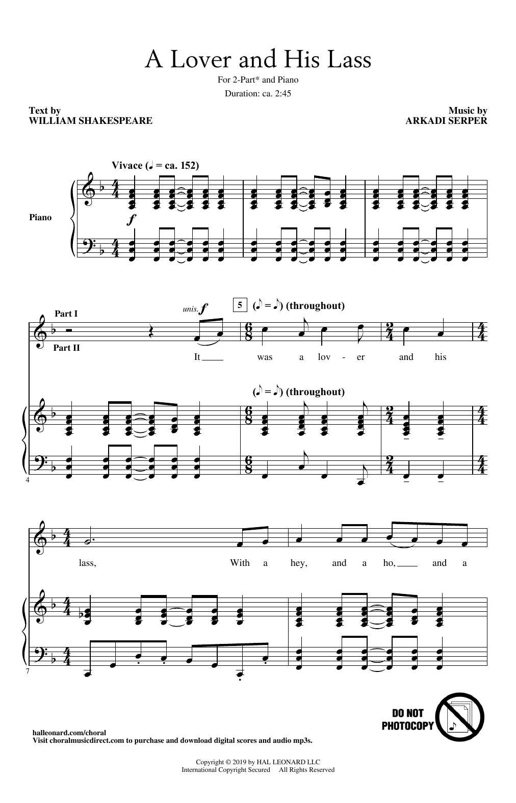 A Lover And His Lass (2-Part Choir)