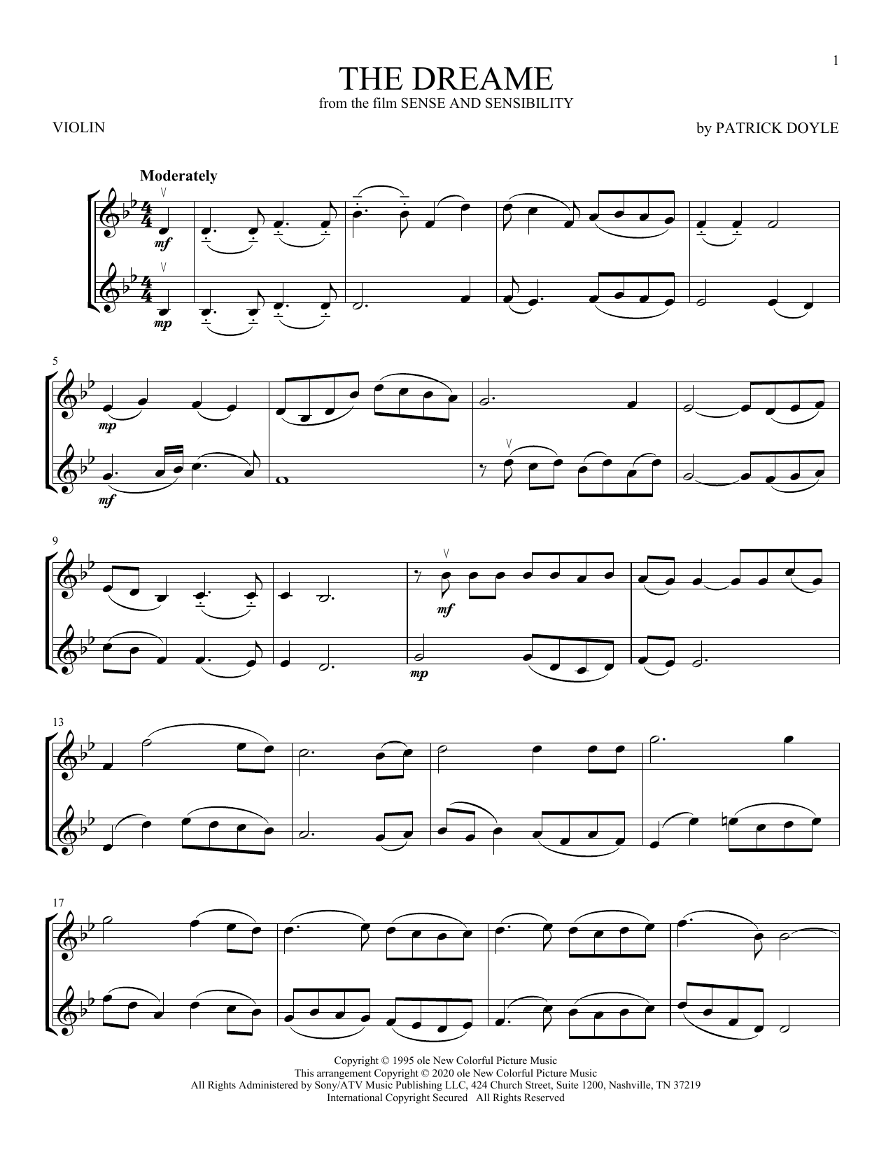 The Dreame (from Sense and Sensibility) (Violin Duet)