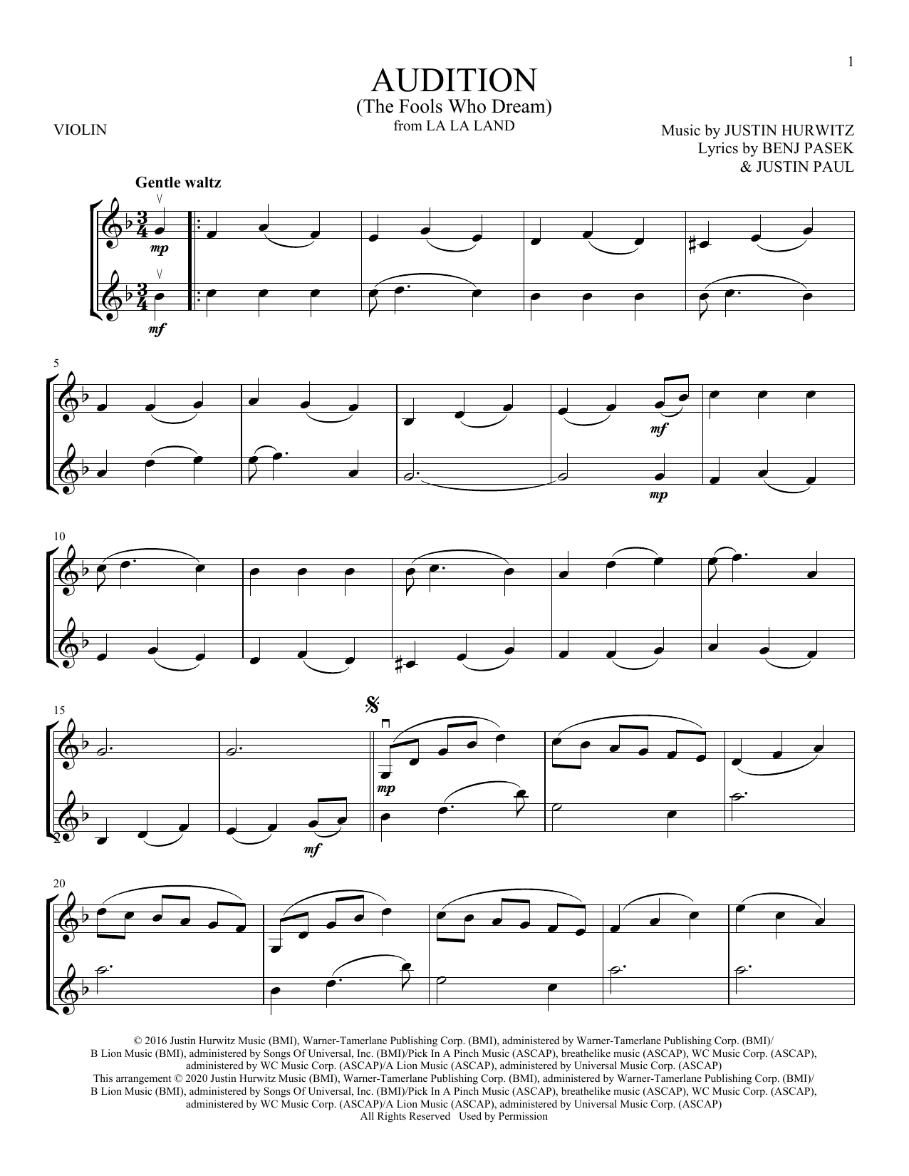 Audition (The Fools Who Dream) (from La La Land) (Violin Duet)