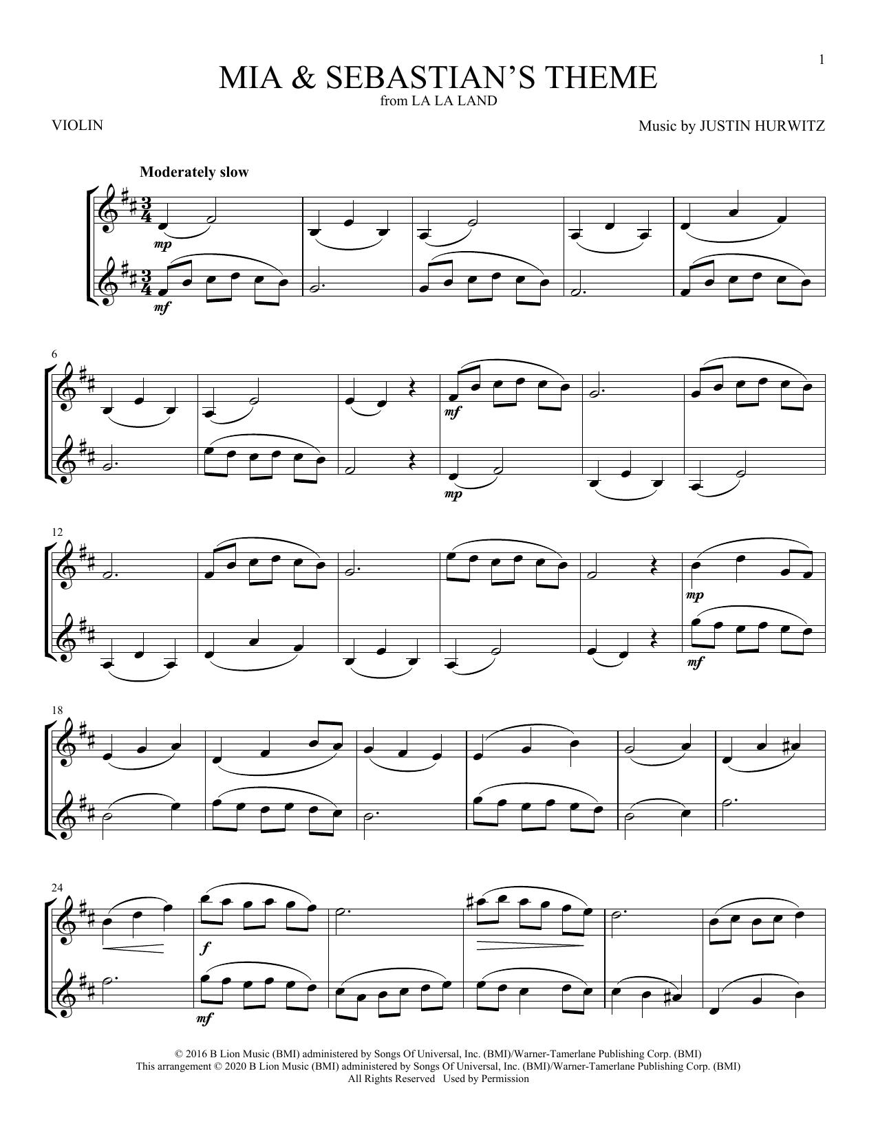Mia & Sebastian's Theme (from La La Land) (Violin Duet)