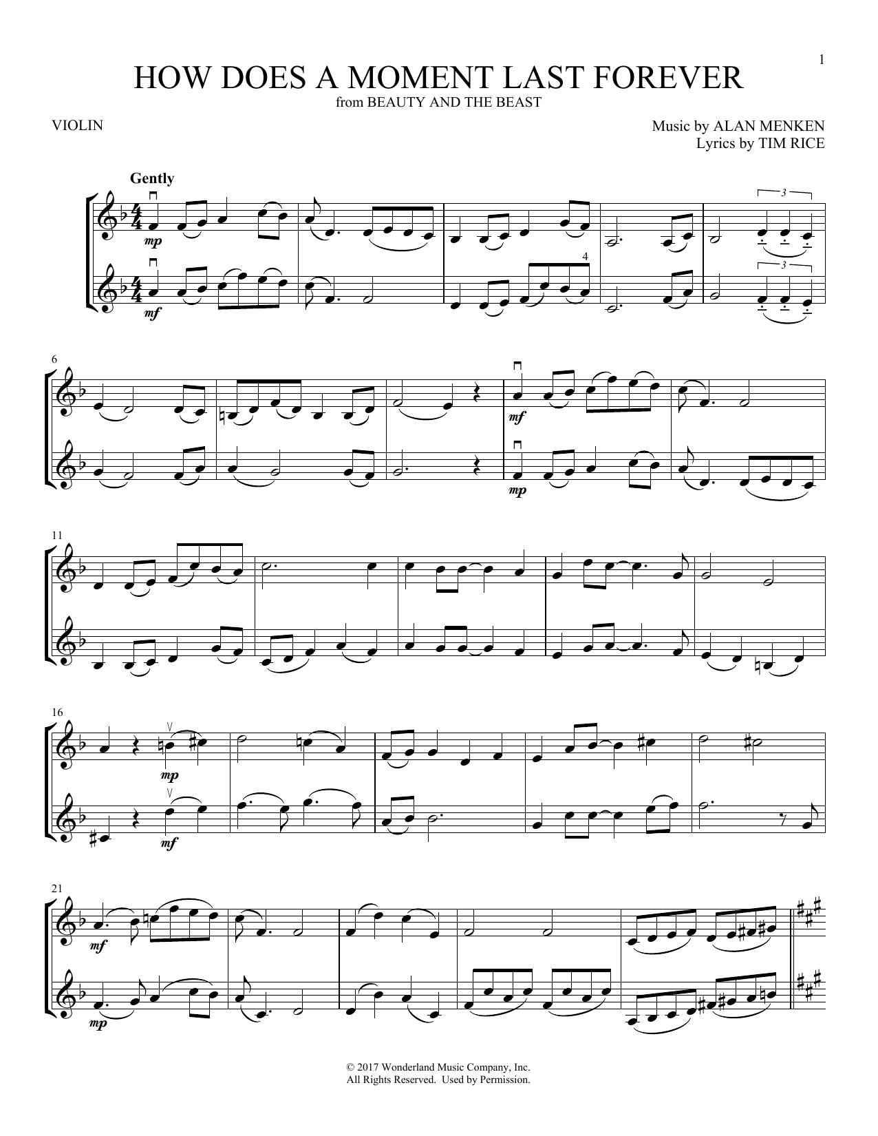 How Does A Moment Last Forever (from Beauty And The Beast) (Violin Duet)