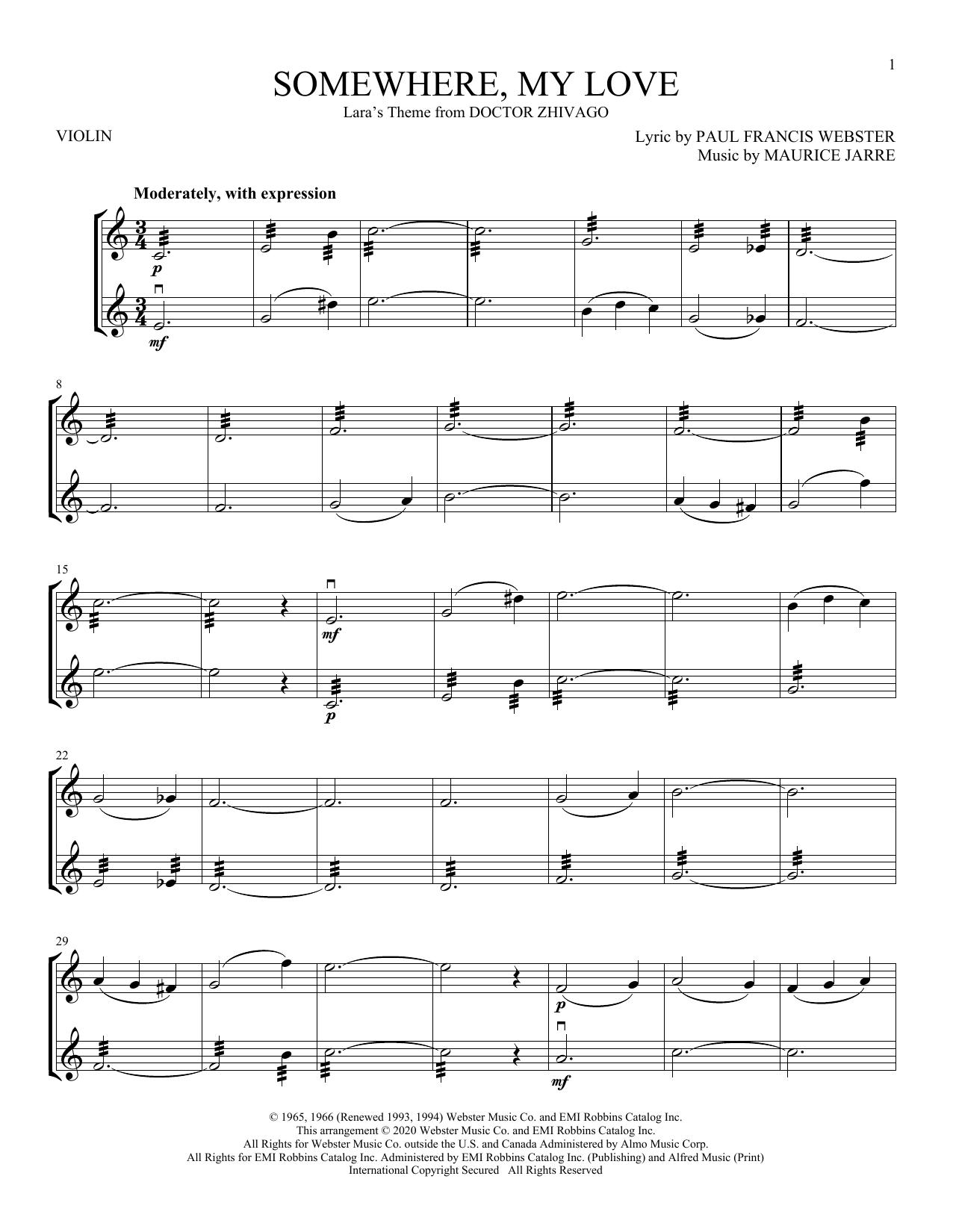Somewhere, My Love (Lara's Theme) (from Doctor Zhivago) (Violin Duet)