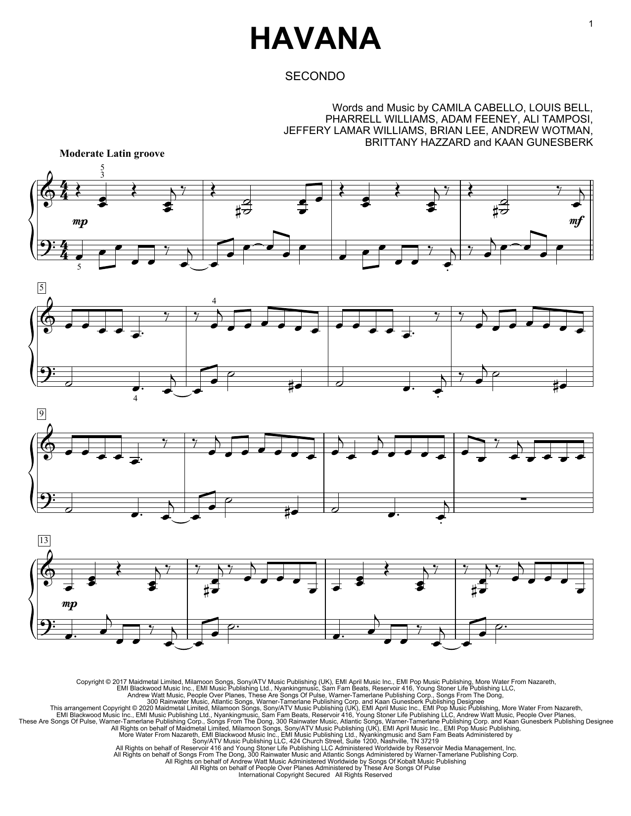 Havana (feat. Young Thug) (arr. David Pearl) Sheet Music