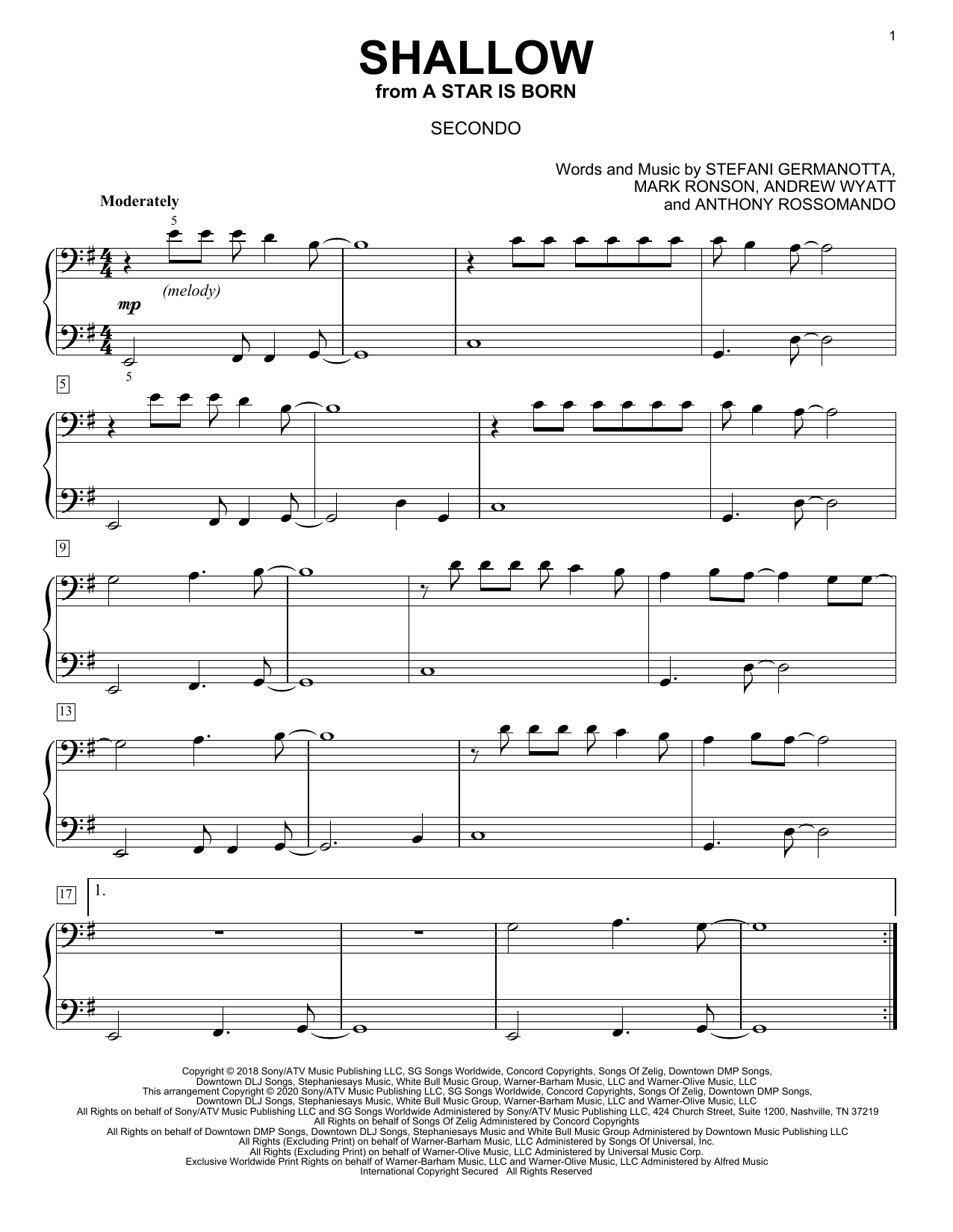 Shallow (from A Star Is Born) (arr. David Pearl) Sheet Music
