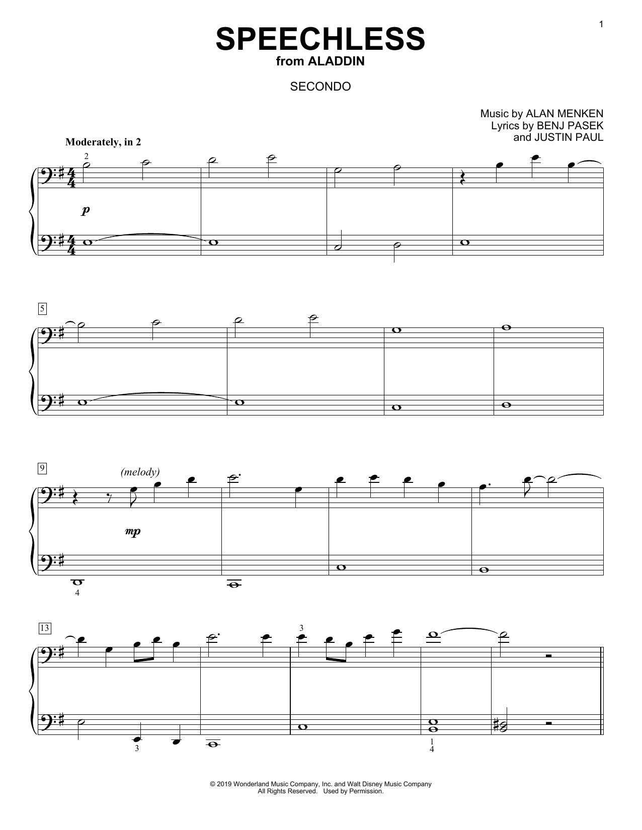Speechless (from Disney's Aladdin) (arr. David Pearl) (Piano Duet)