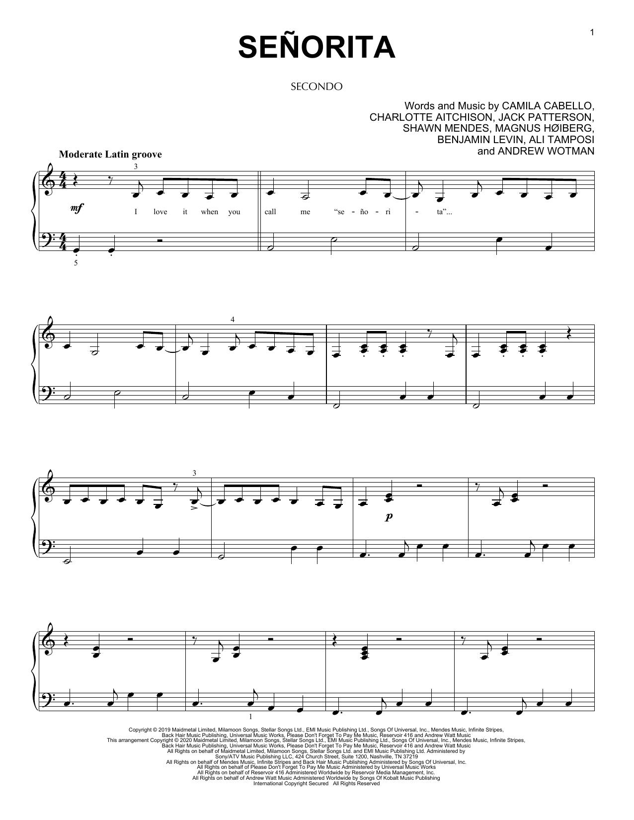 Señorita (arr. David Pearl) (Piano Duet)