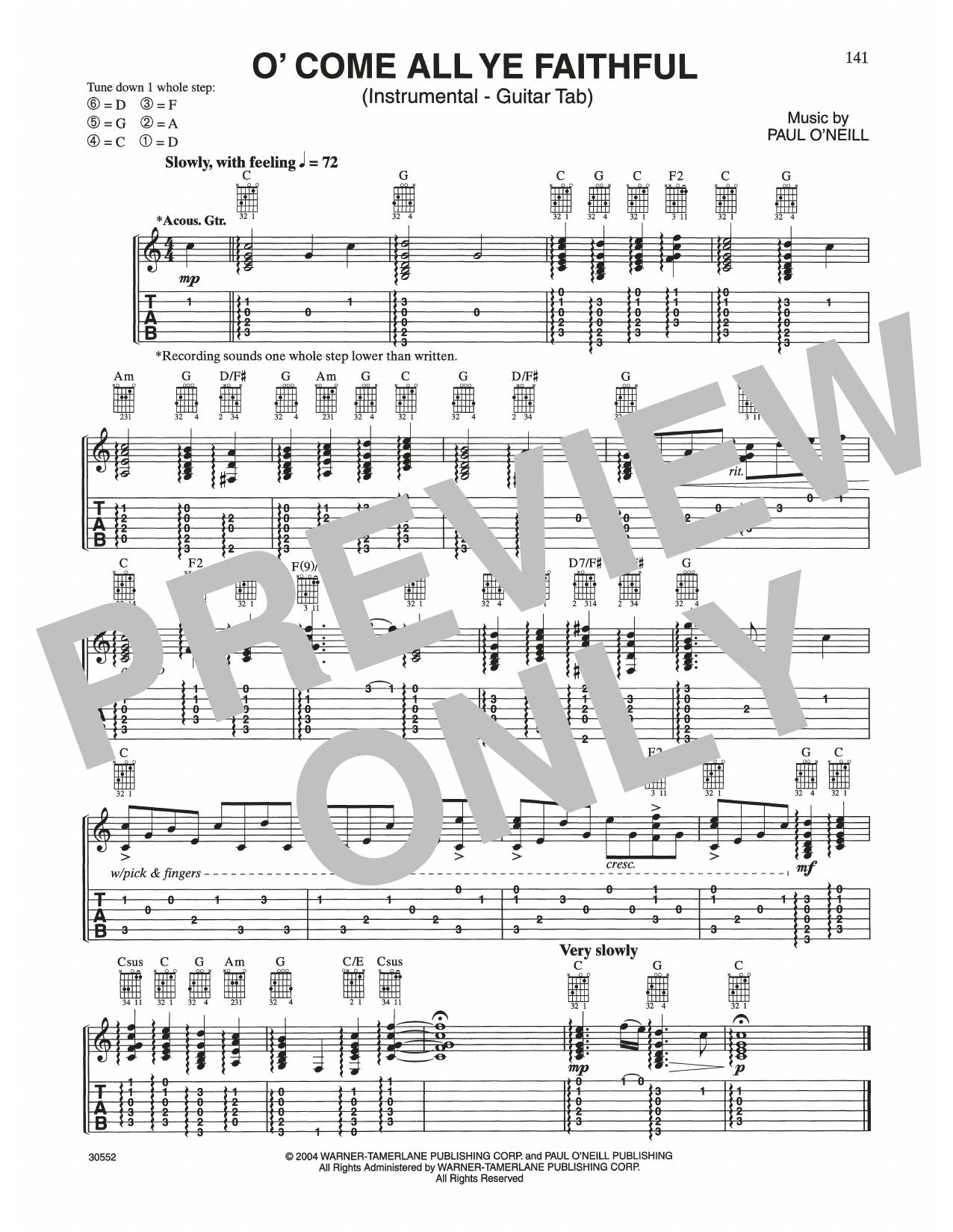 O' Come All Ye Faithful (Guitar Tab)