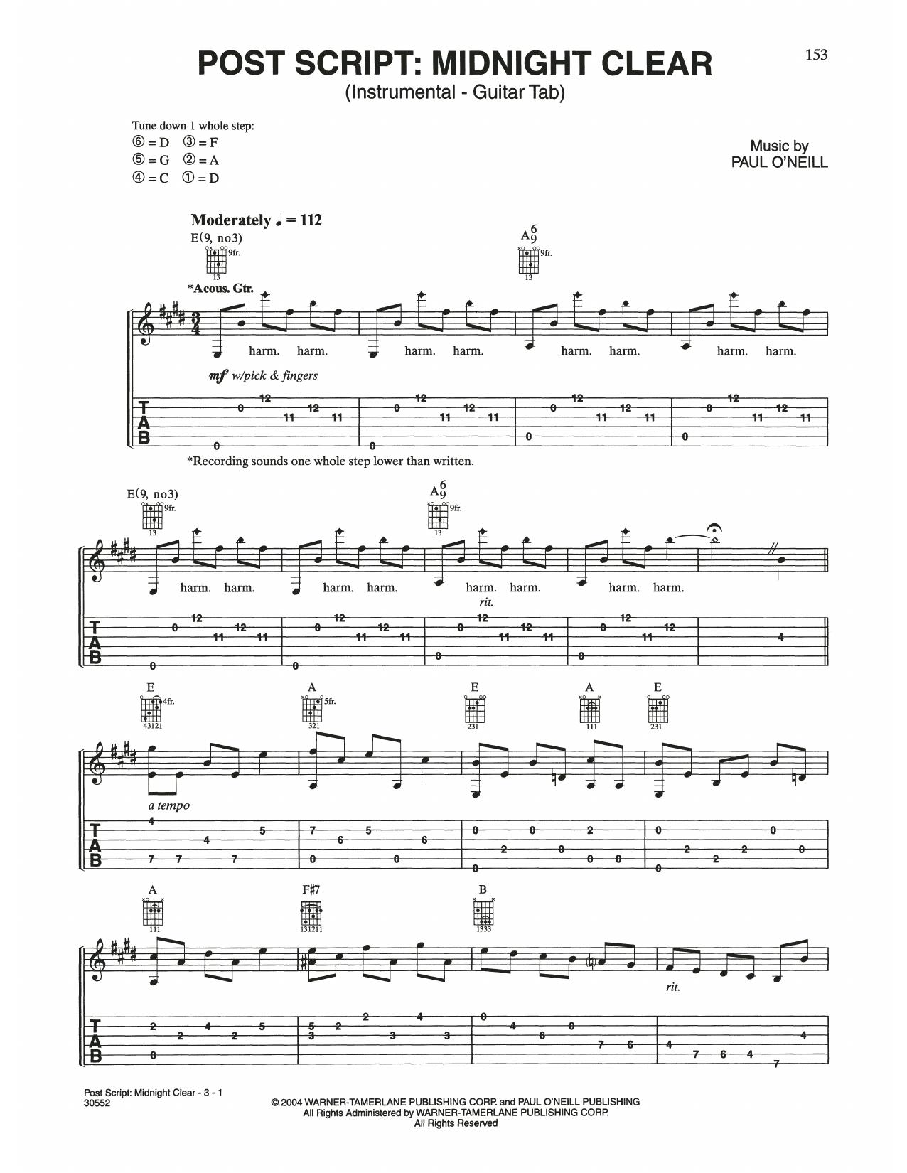 Post Script: Midnight Clear (Guitar Tab)