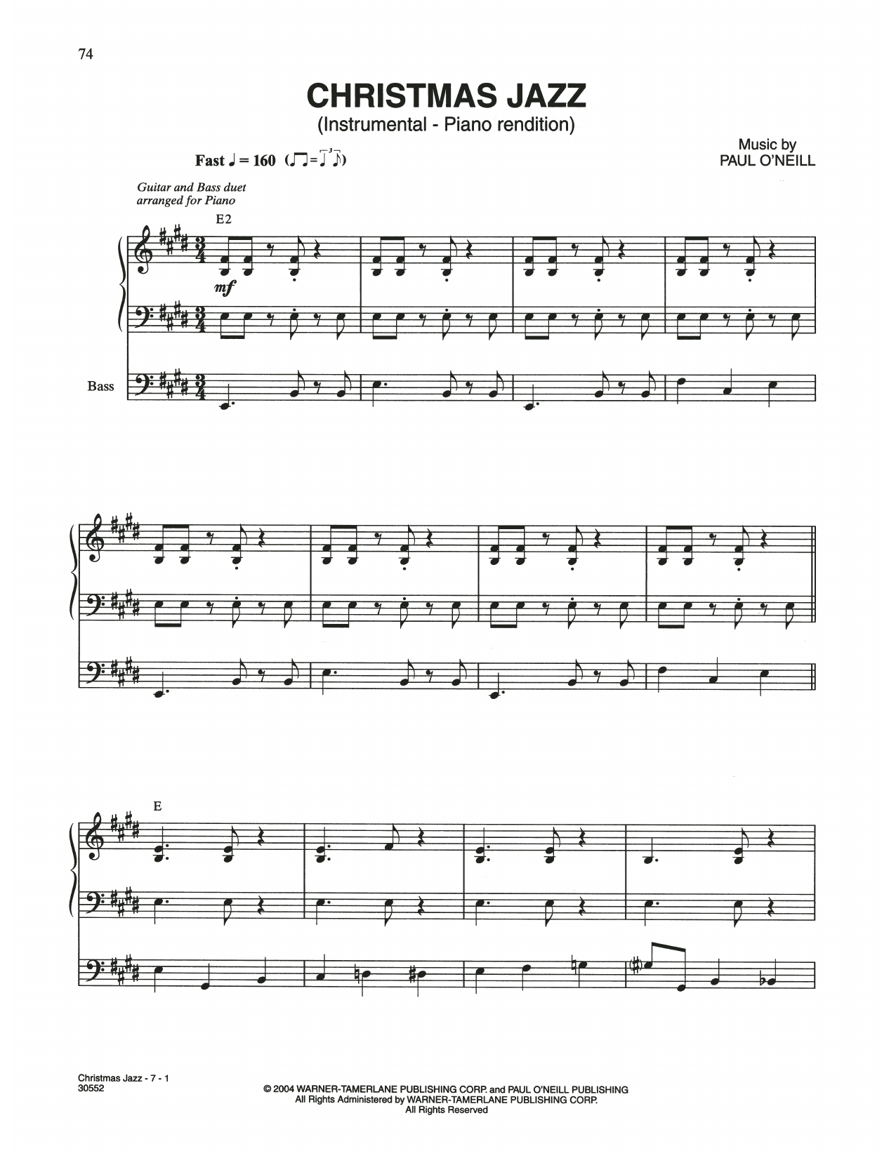Christmas Jazz (Piano Solo)