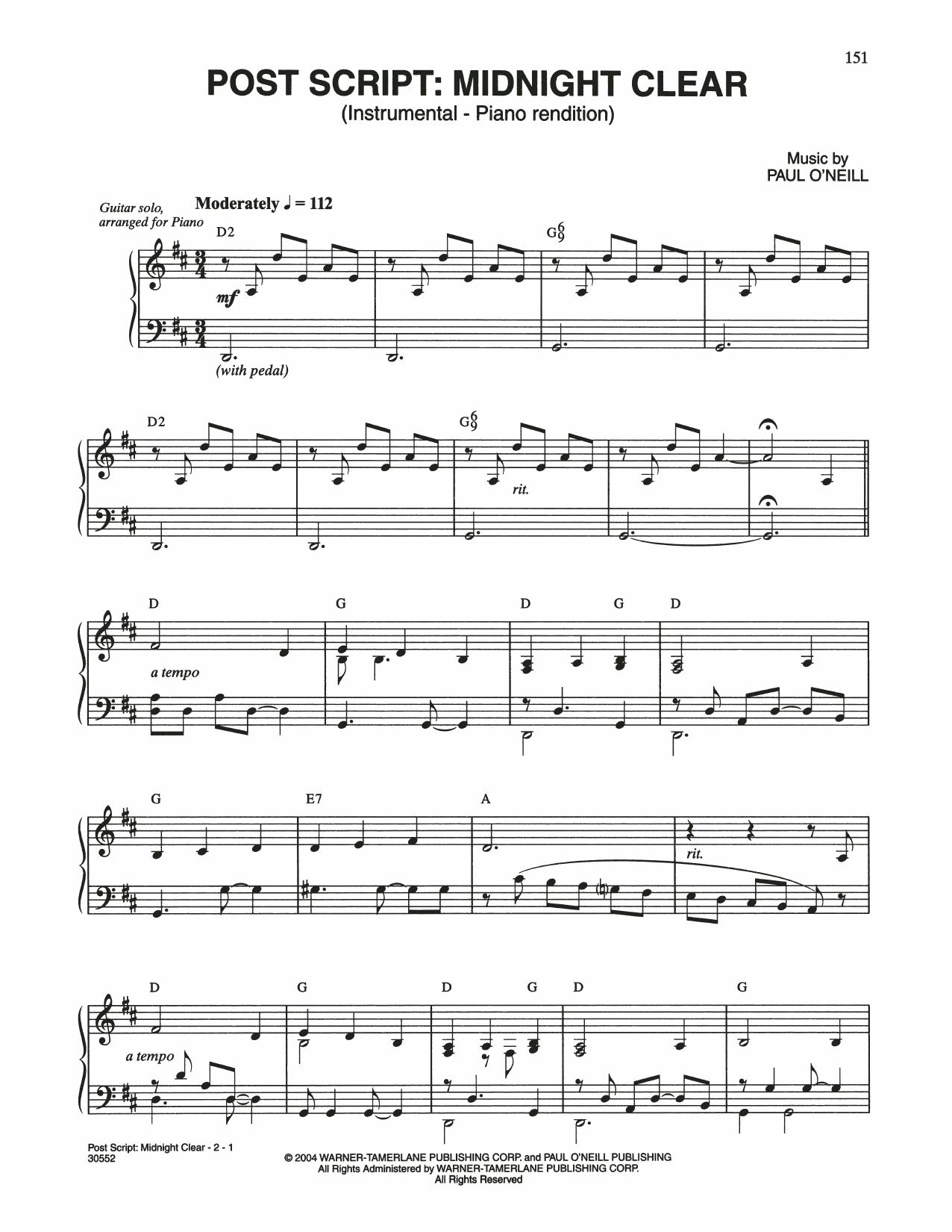 Post Script: Midnight Clear (Piano Solo)