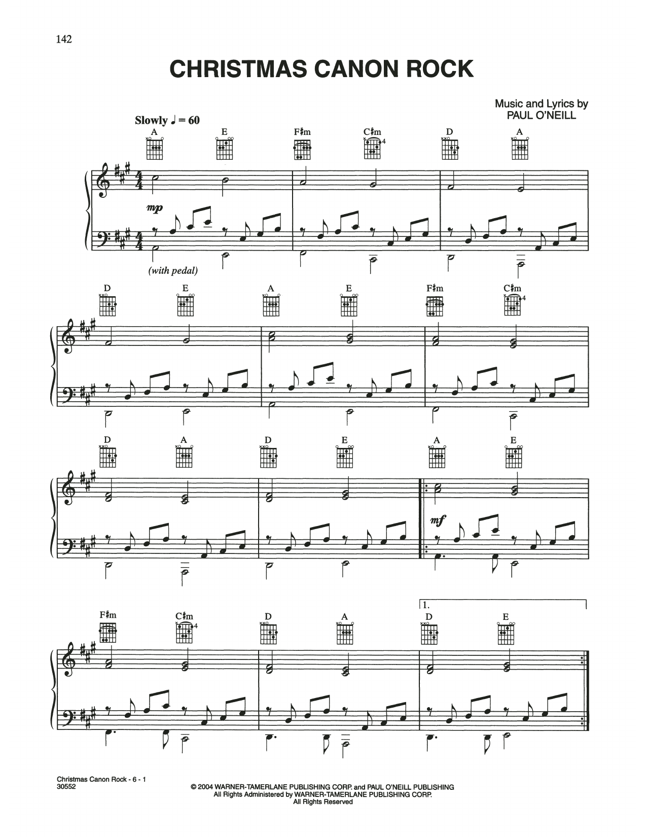 Christmas Canon Rock (Piano, Vocal & Guitar (Right-Hand Melody))