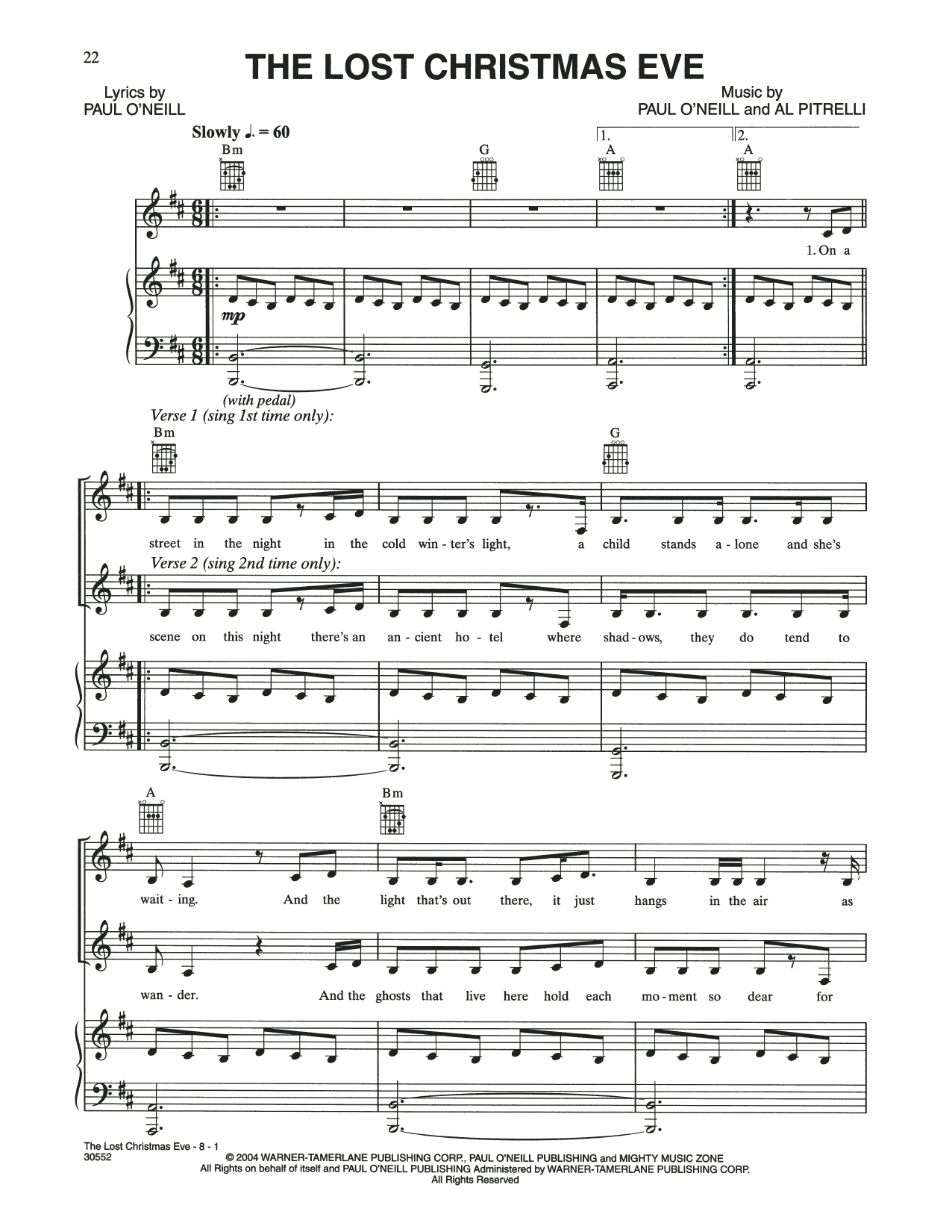 The Lost Christmas Eve (Piano, Vocal & Guitar (Right-Hand Melody))