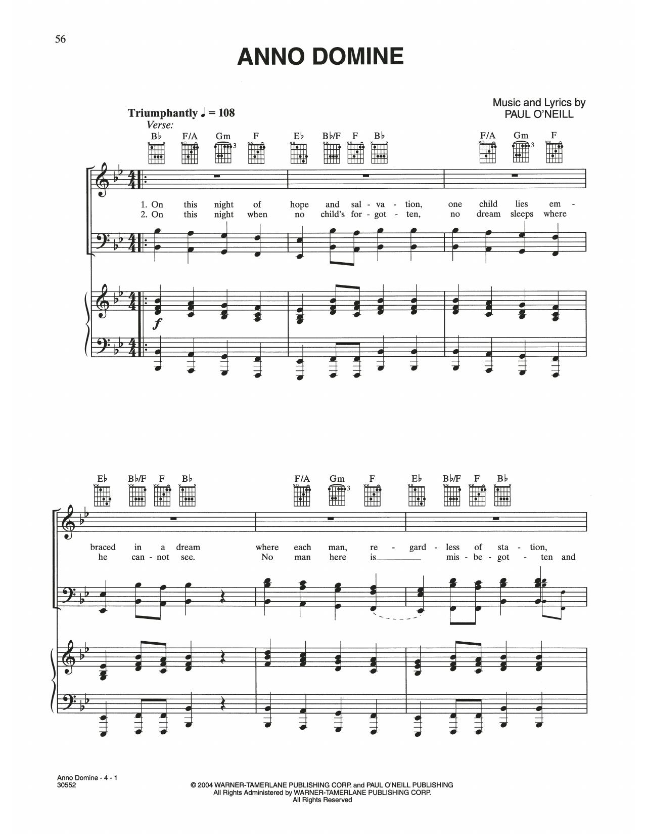 Anno Domine (Piano, Vocal & Guitar (Right-Hand Melody))