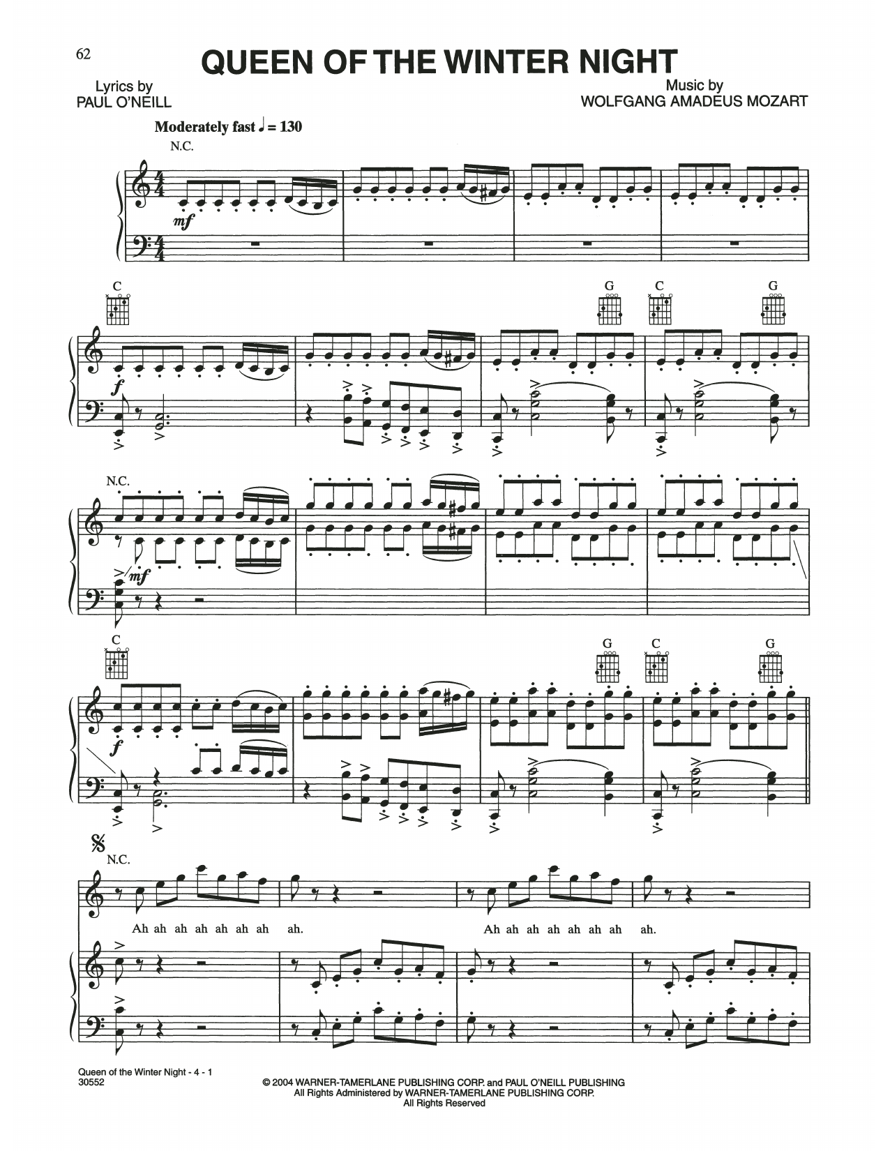 Queen Of The Winter Night (Piano, Vocal & Guitar (Right-Hand Melody))