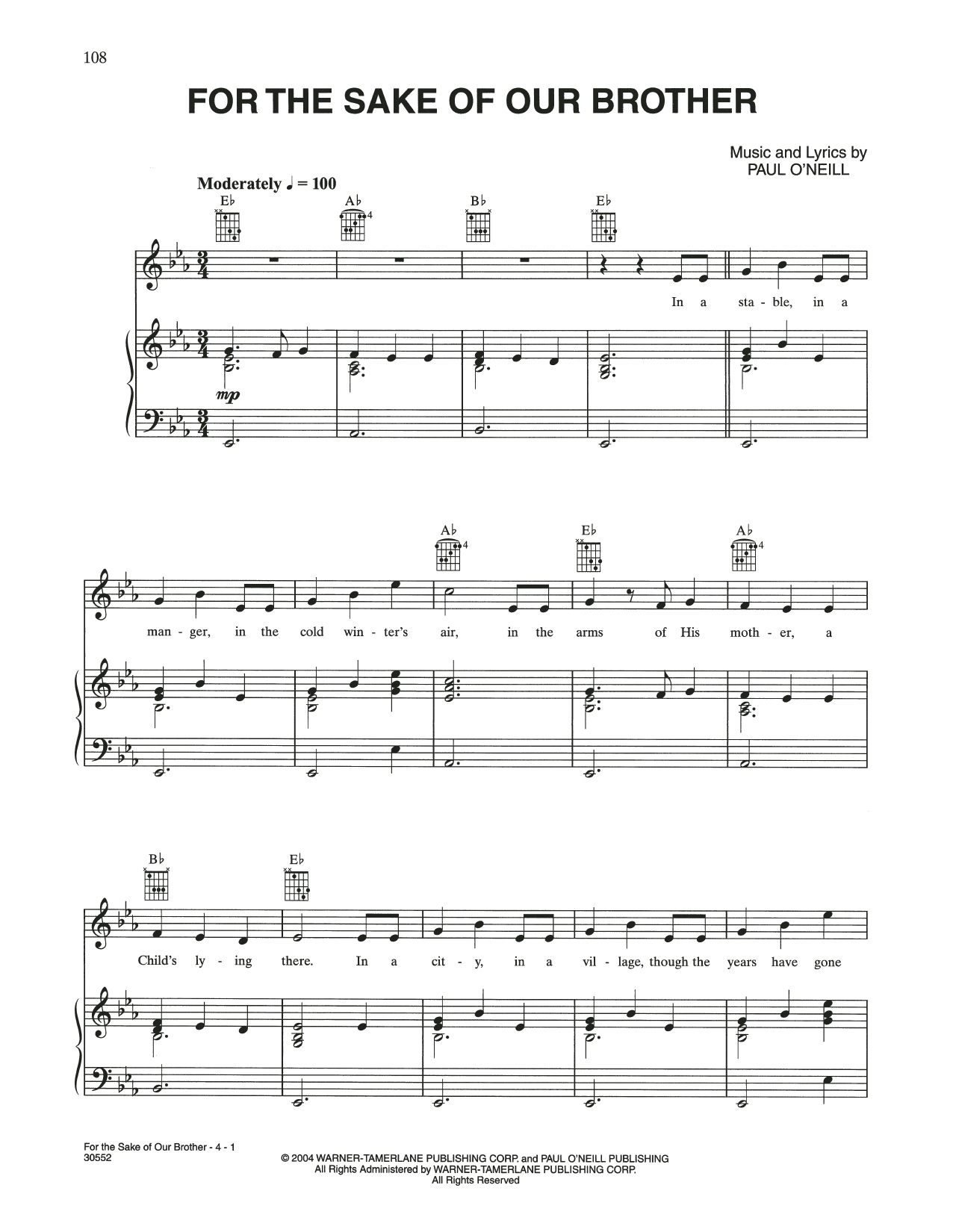 For The Sake Of Our Brother (Piano, Vocal & Guitar (Right-Hand Melody))