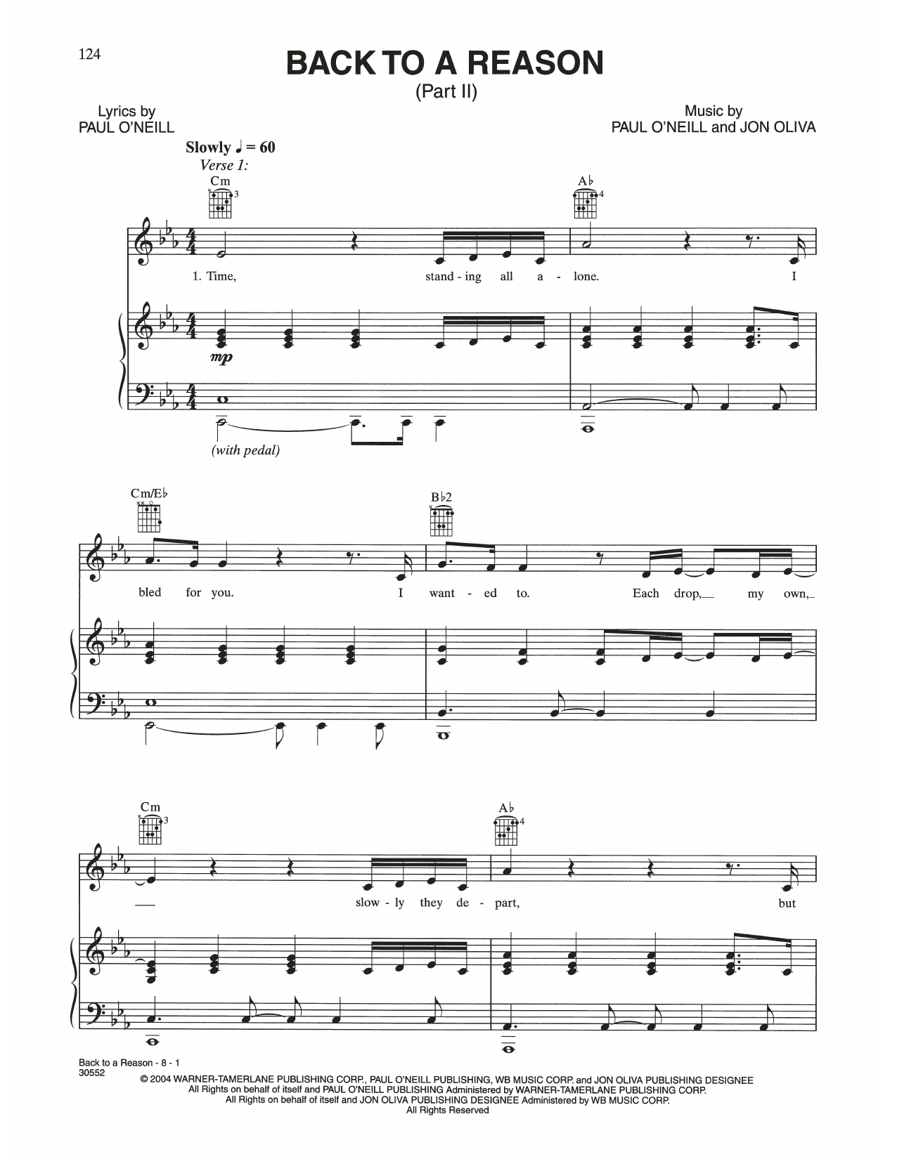 Back To A Reason (Piano, Vocal & Guitar (Right-Hand Melody))